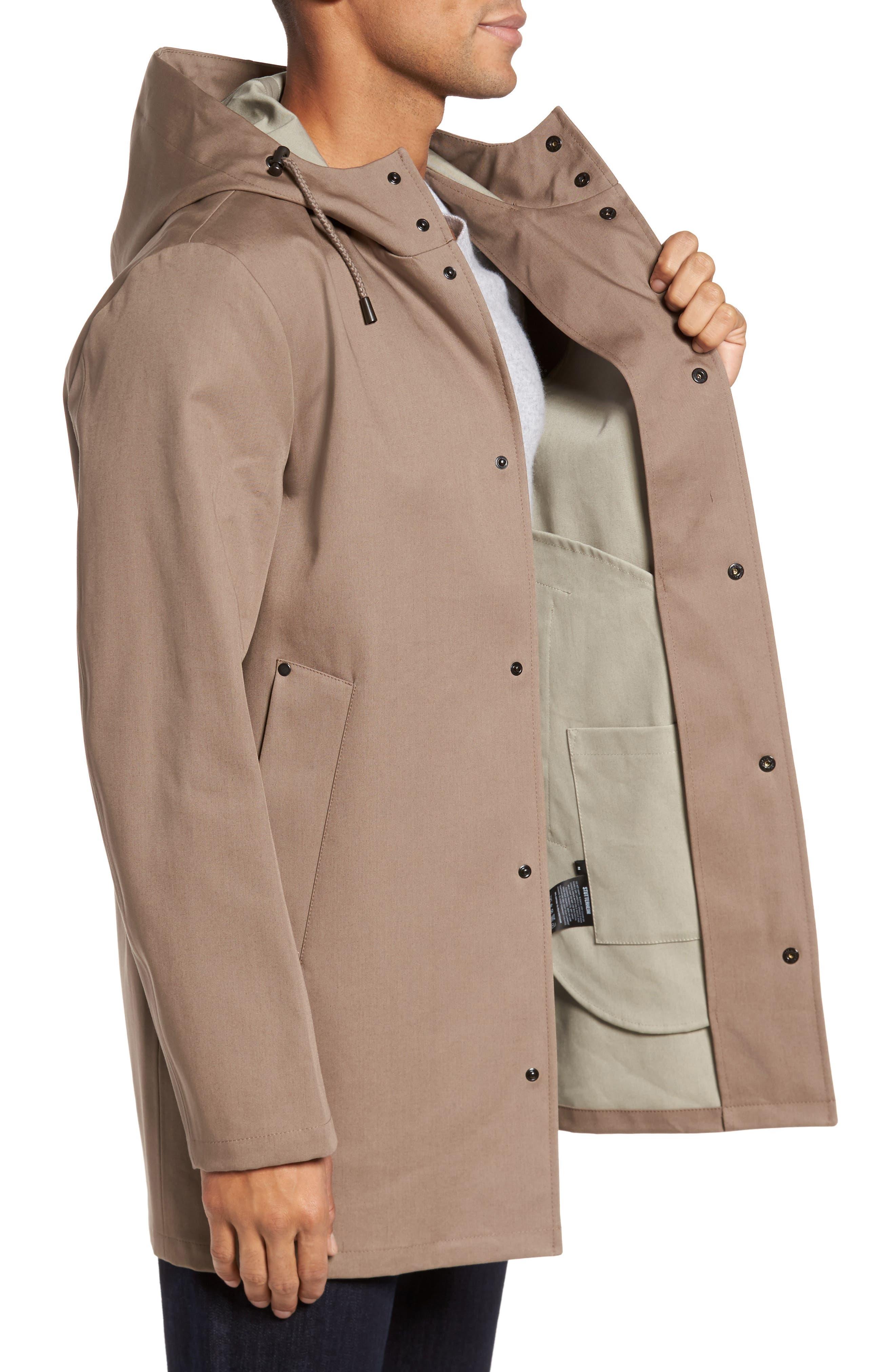 Stockholm Bonded Waterproof Hooded Raincoat,                             Alternate thumbnail 3, color,                             Mole