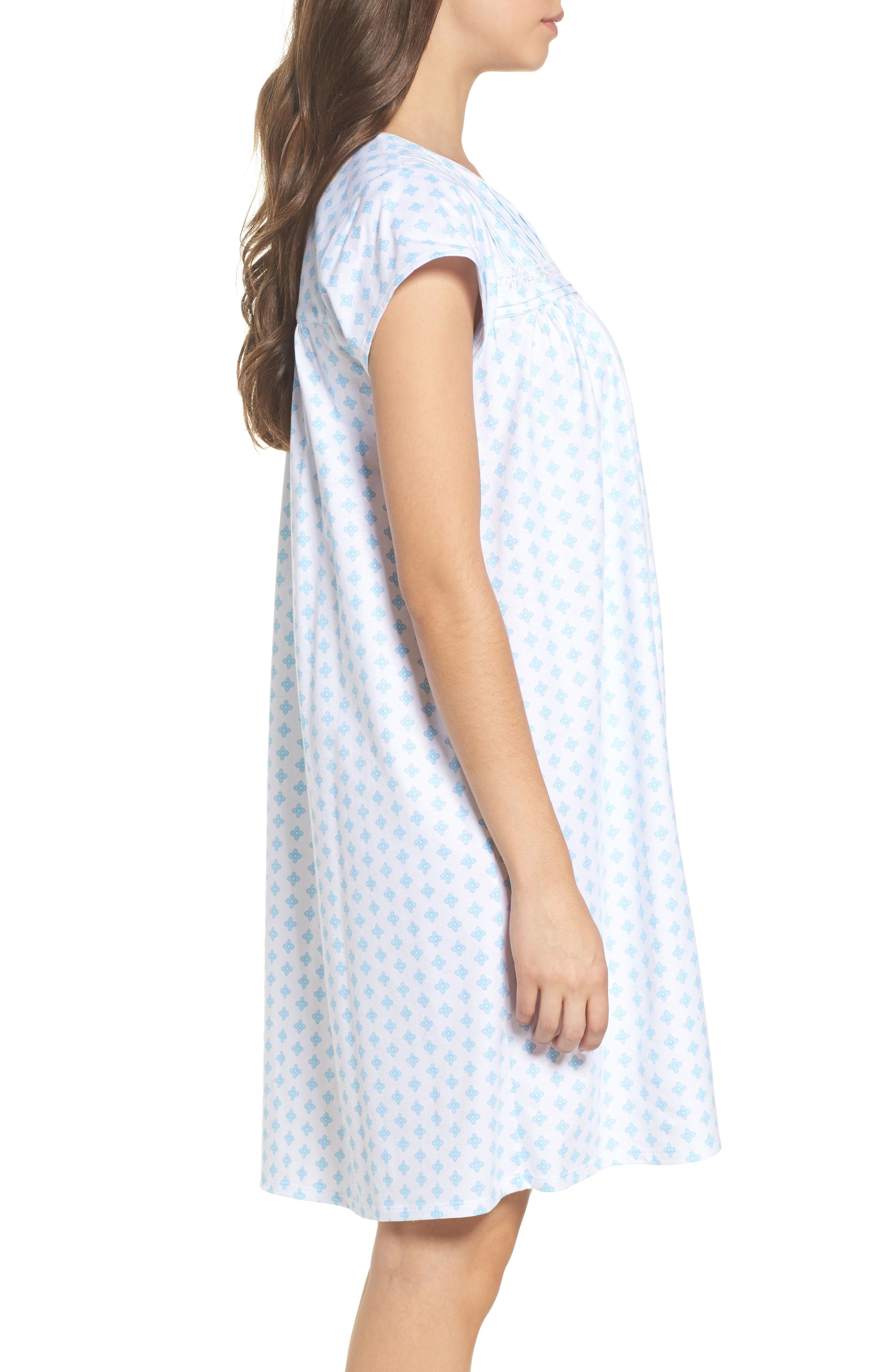 Short Nightgown,                             Alternate thumbnail 3, color,                             Blue Geo
