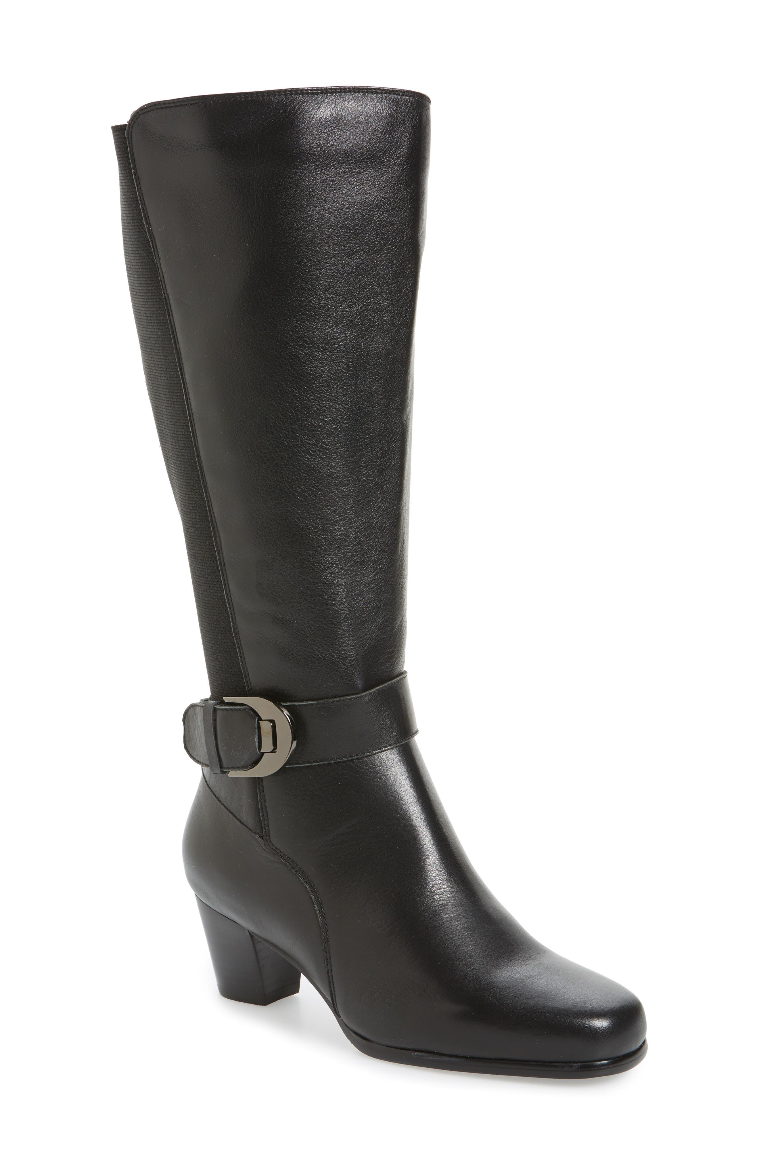 Bonita 18 Boot,                             Main thumbnail 1, color,                             Black Leather Fabric