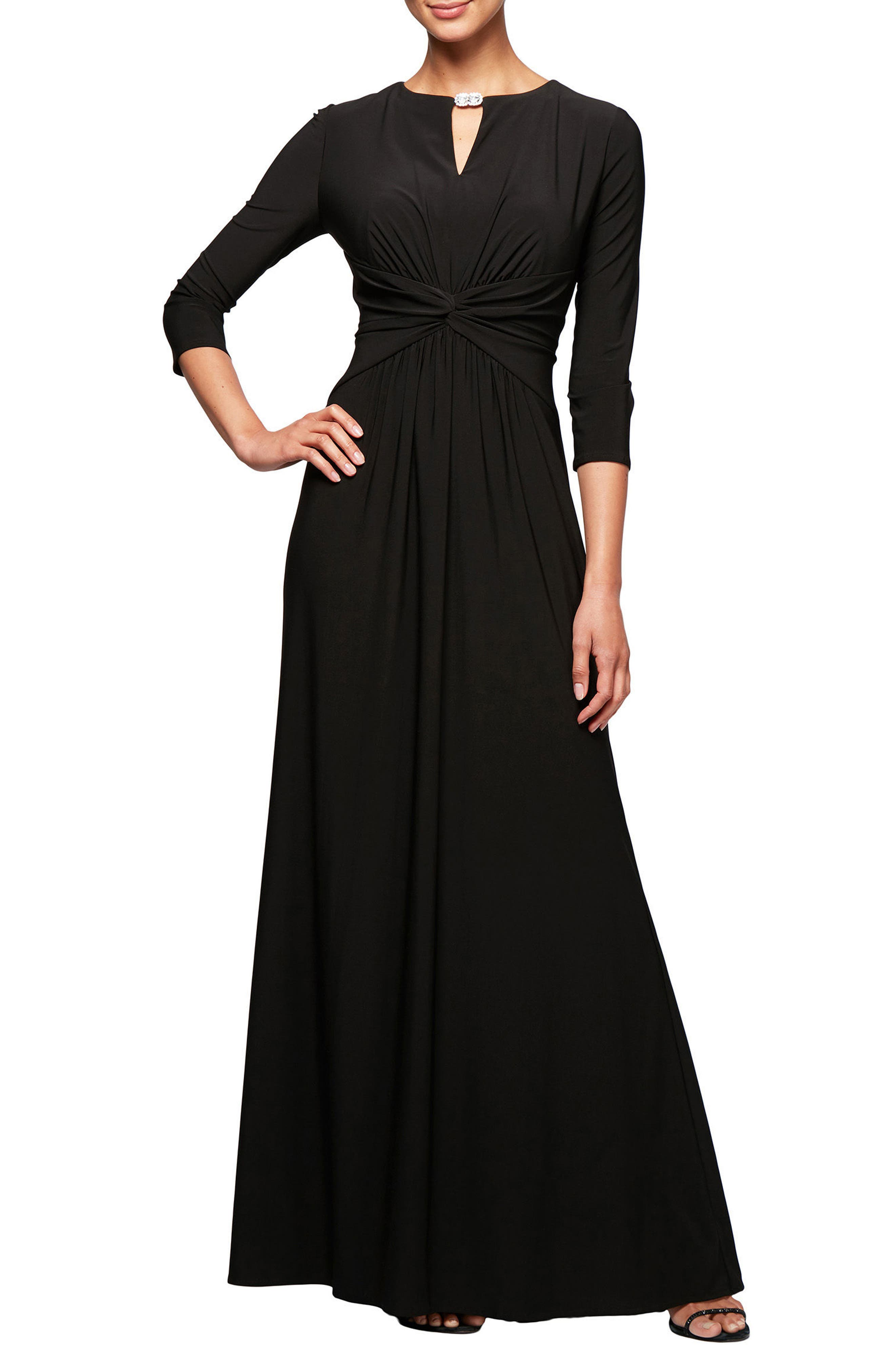 Ruched Waist A-Line Gown,                         Main,                         color, Black