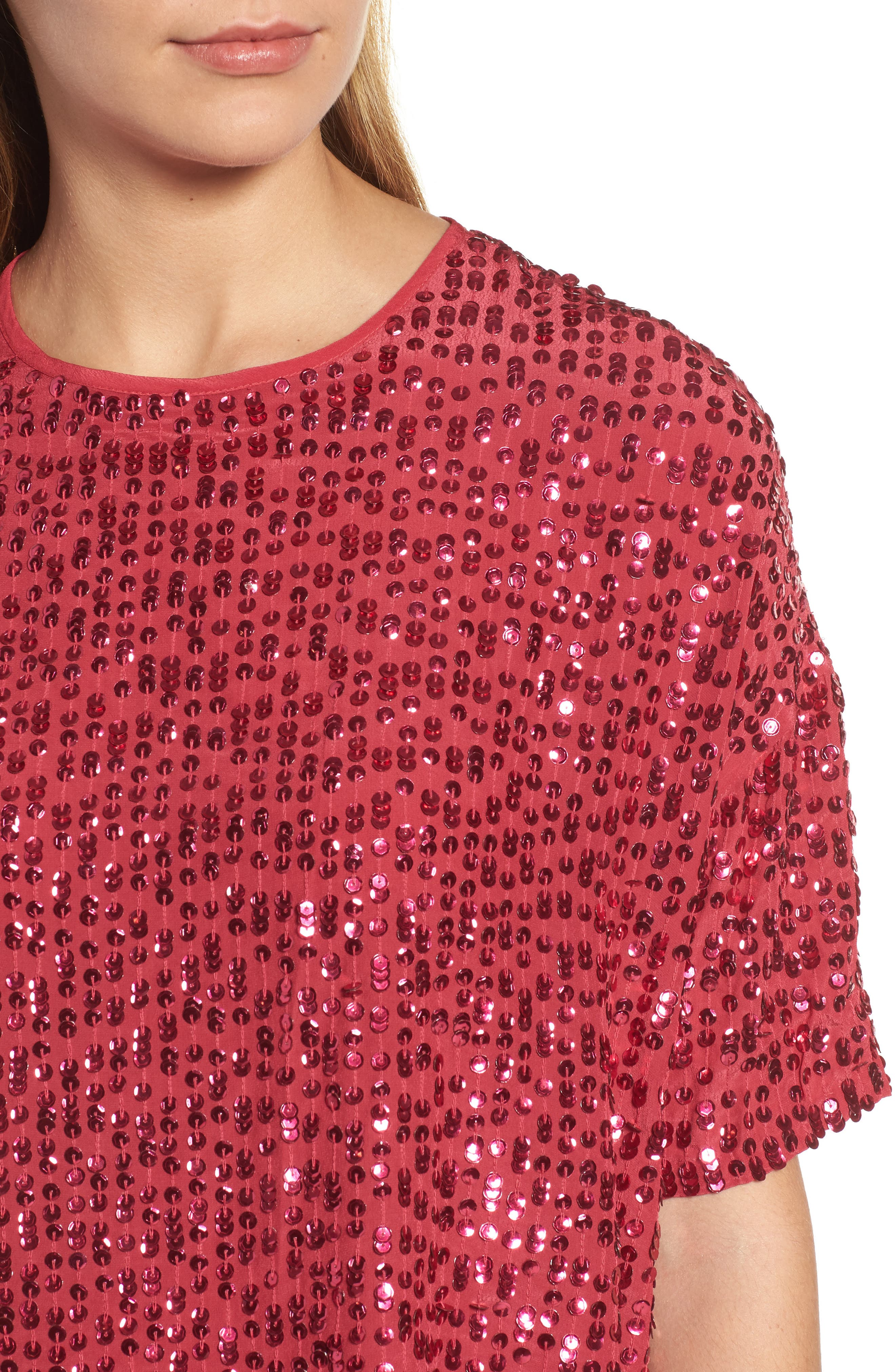Short Sleeve Sequin Top,                             Alternate thumbnail 4, color,                             Hot Pink