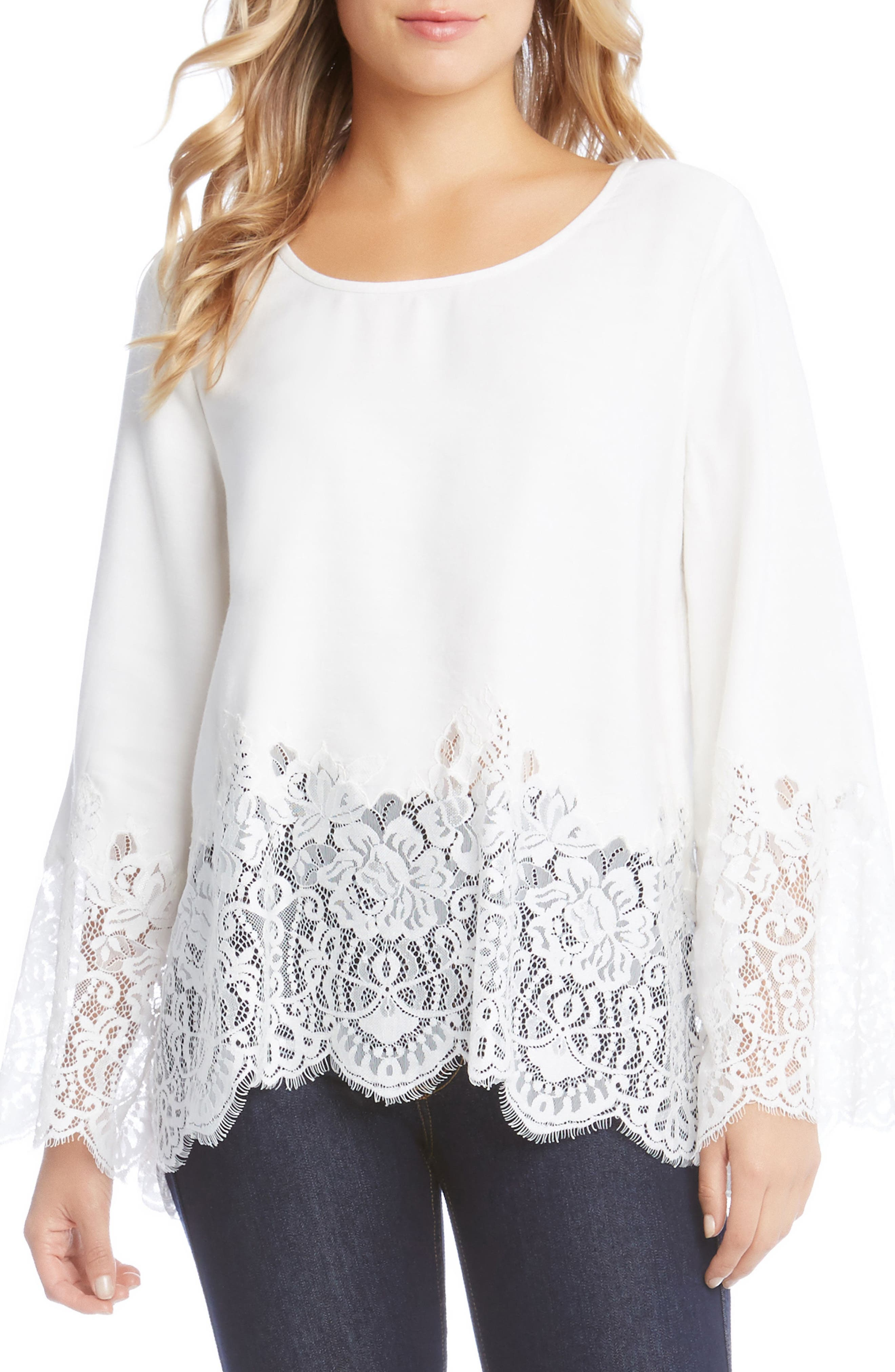 Lace Border Top,                         Main,                         color, Off-White