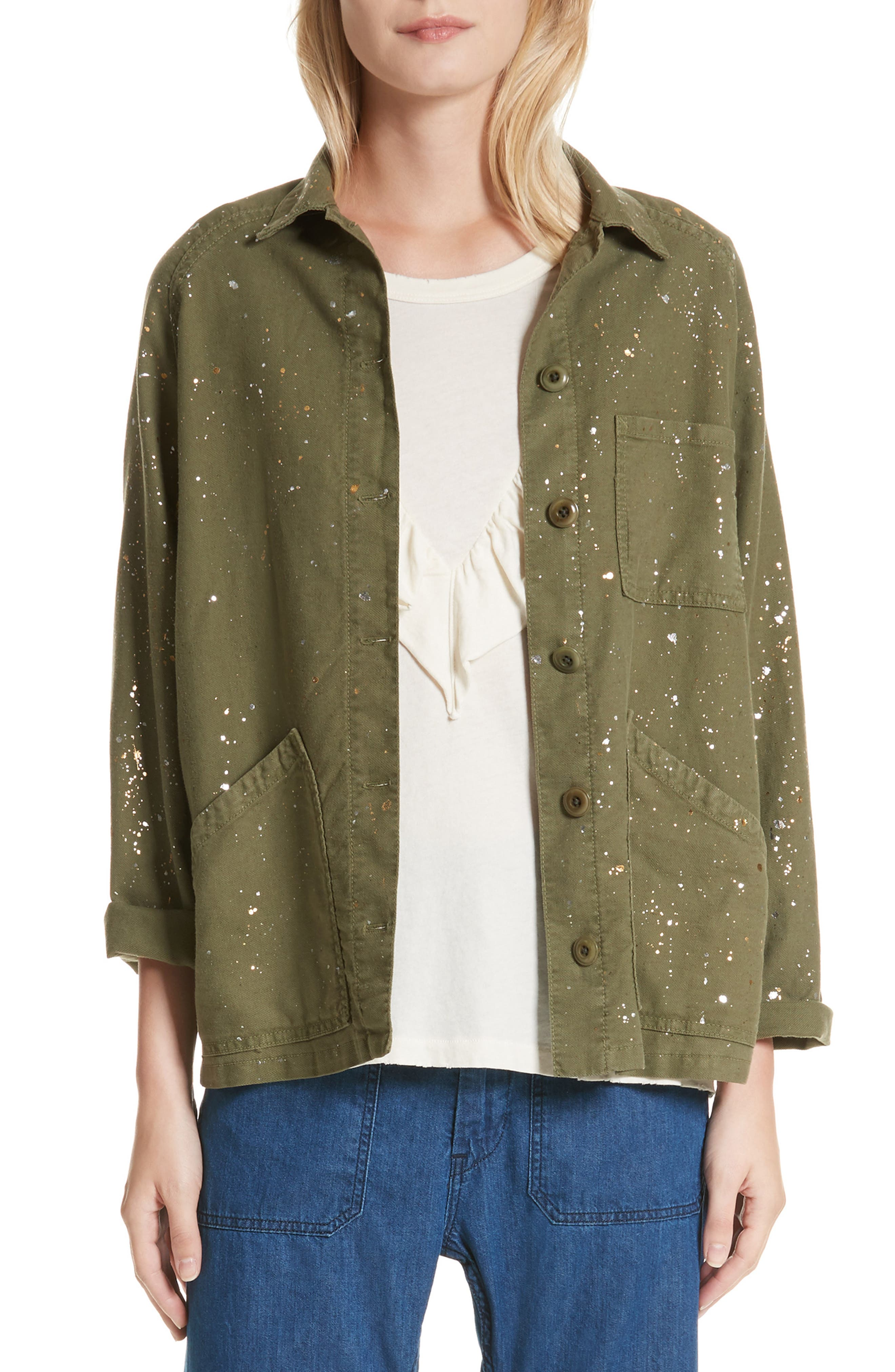 THE GREAT. The Field Metallic Speckle Jacket