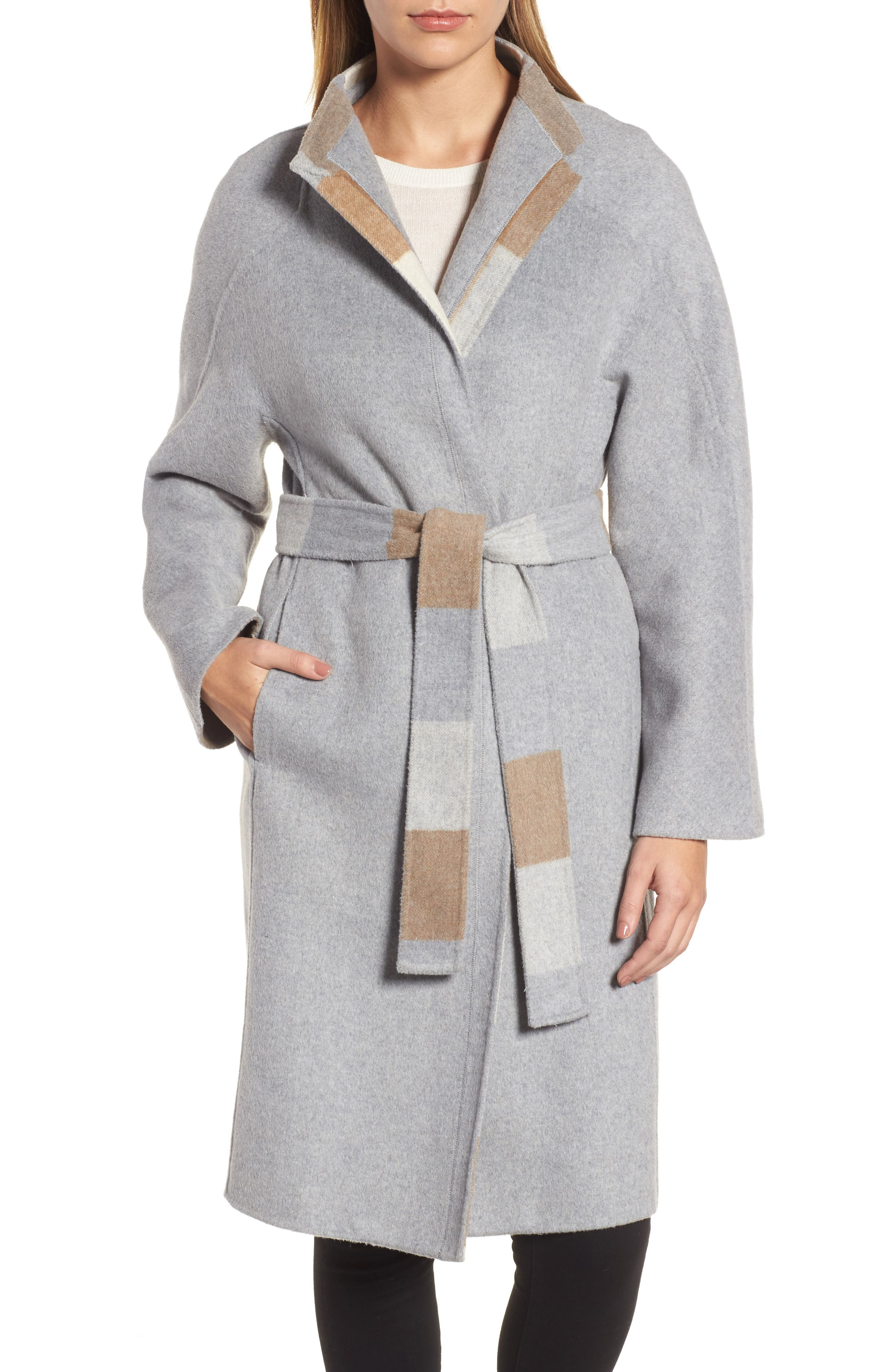 DKNY Wool Blend Wrap Coat,                         Main,                         color, Heather Grey