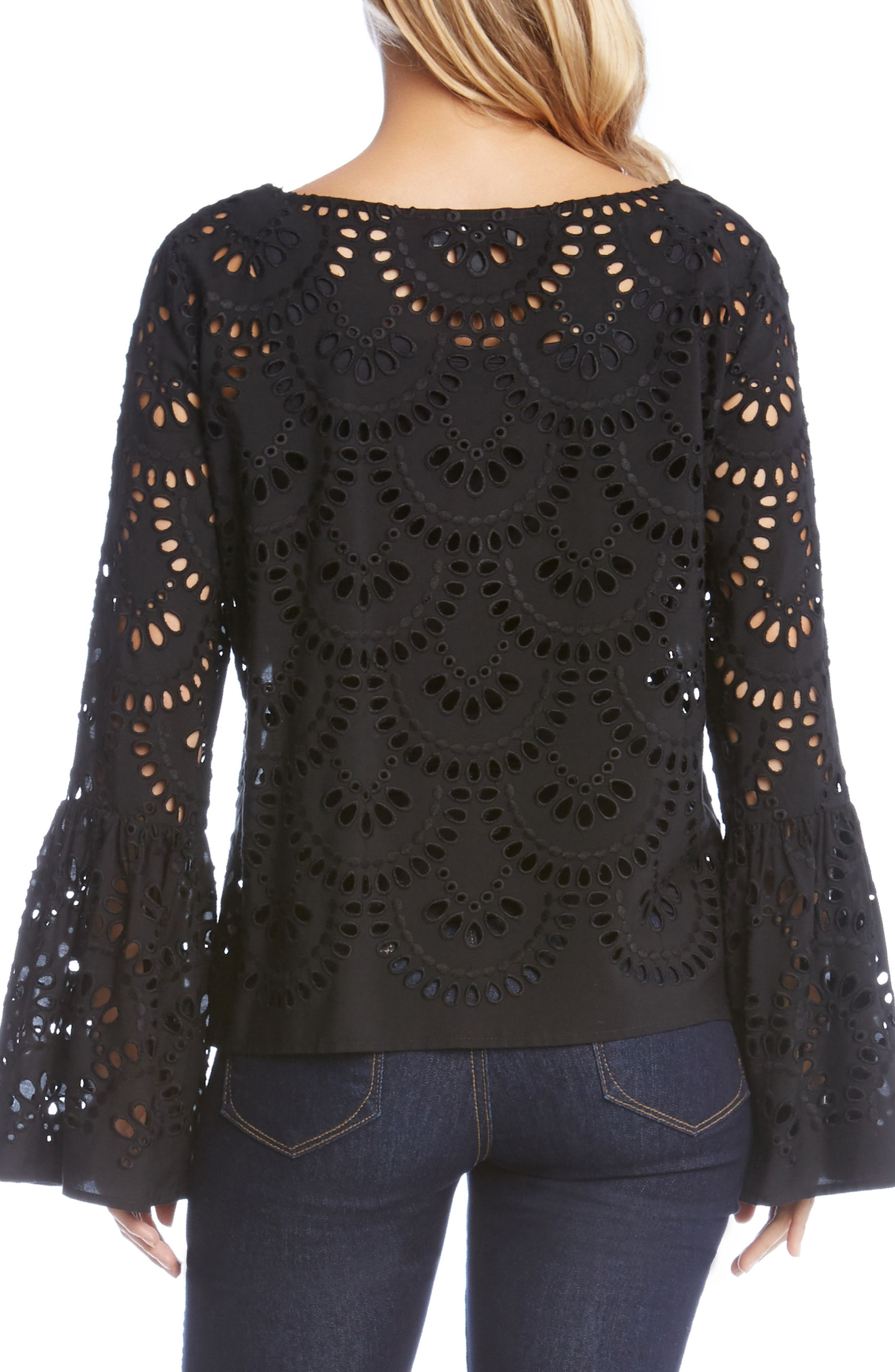 Alternate Image 2  - Karen Kane Eyelet Bell Sleeve Top