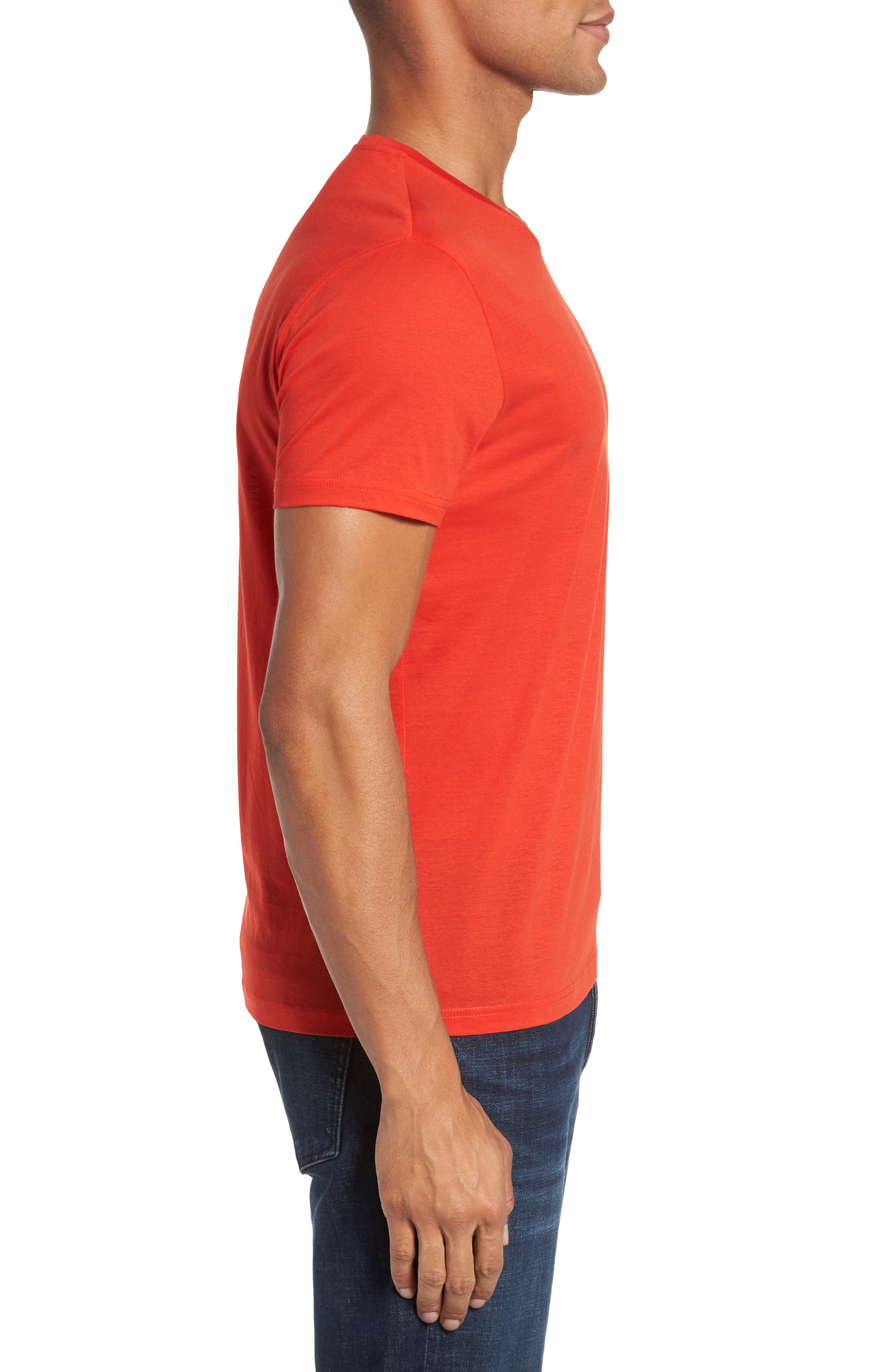 Classic Fit V-Neck T-Shirt,                             Alternate thumbnail 3, color,                             Poppy Red