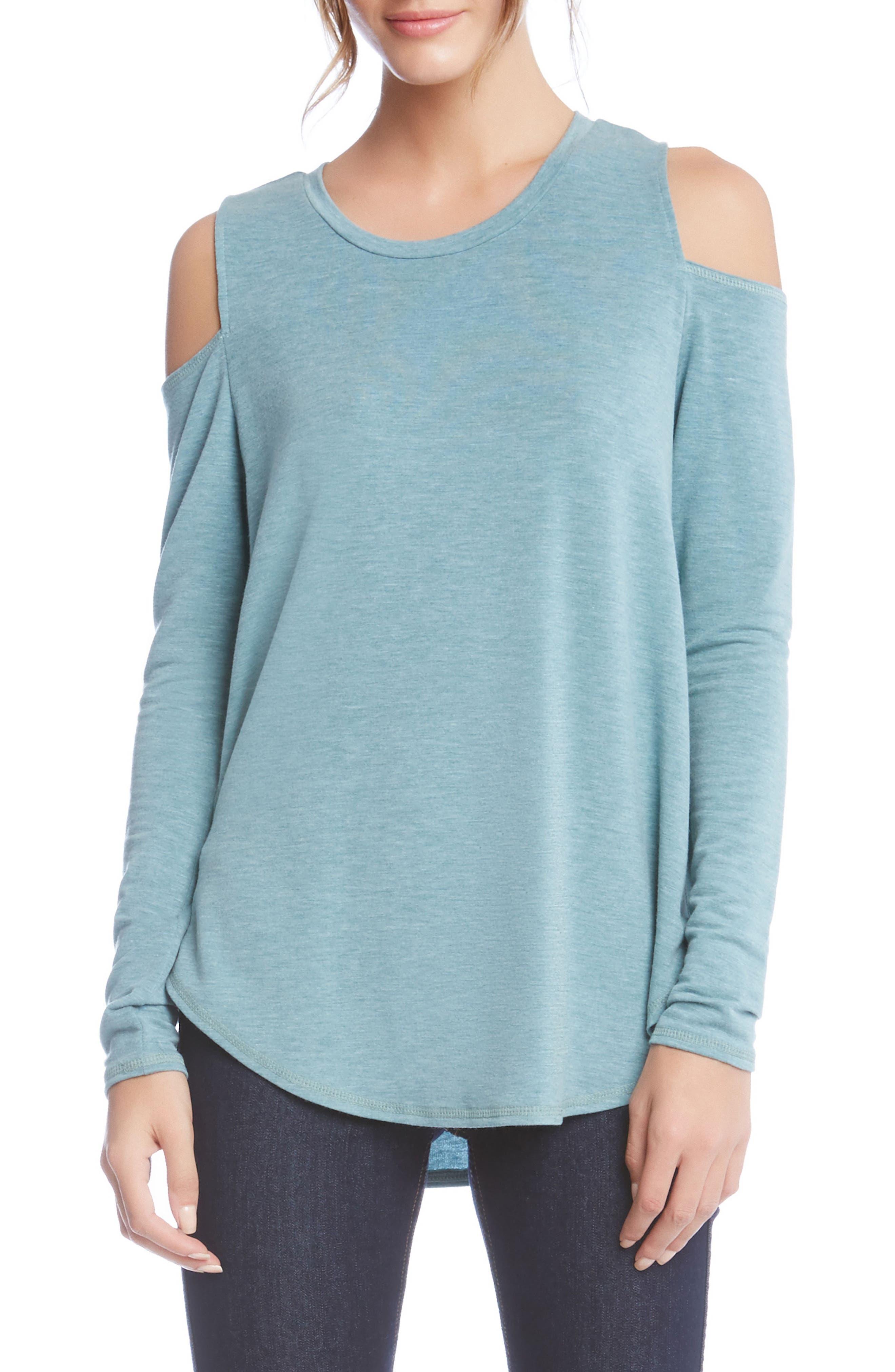 Cold Shoulder Top,                         Main,                         color, Teal