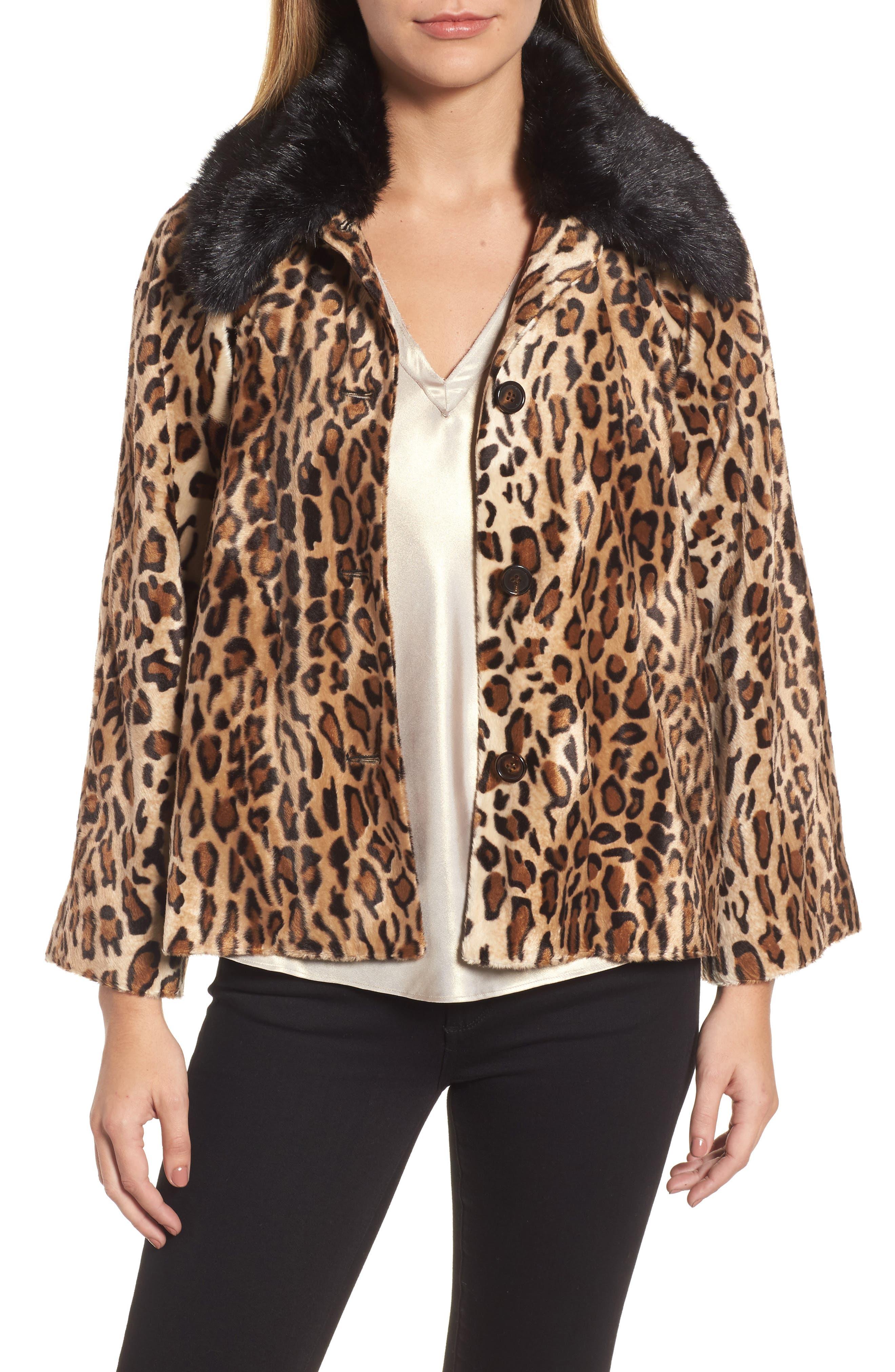 Faux Fur Leopard Jacket,                             Main thumbnail 1, color,                             Leopard
