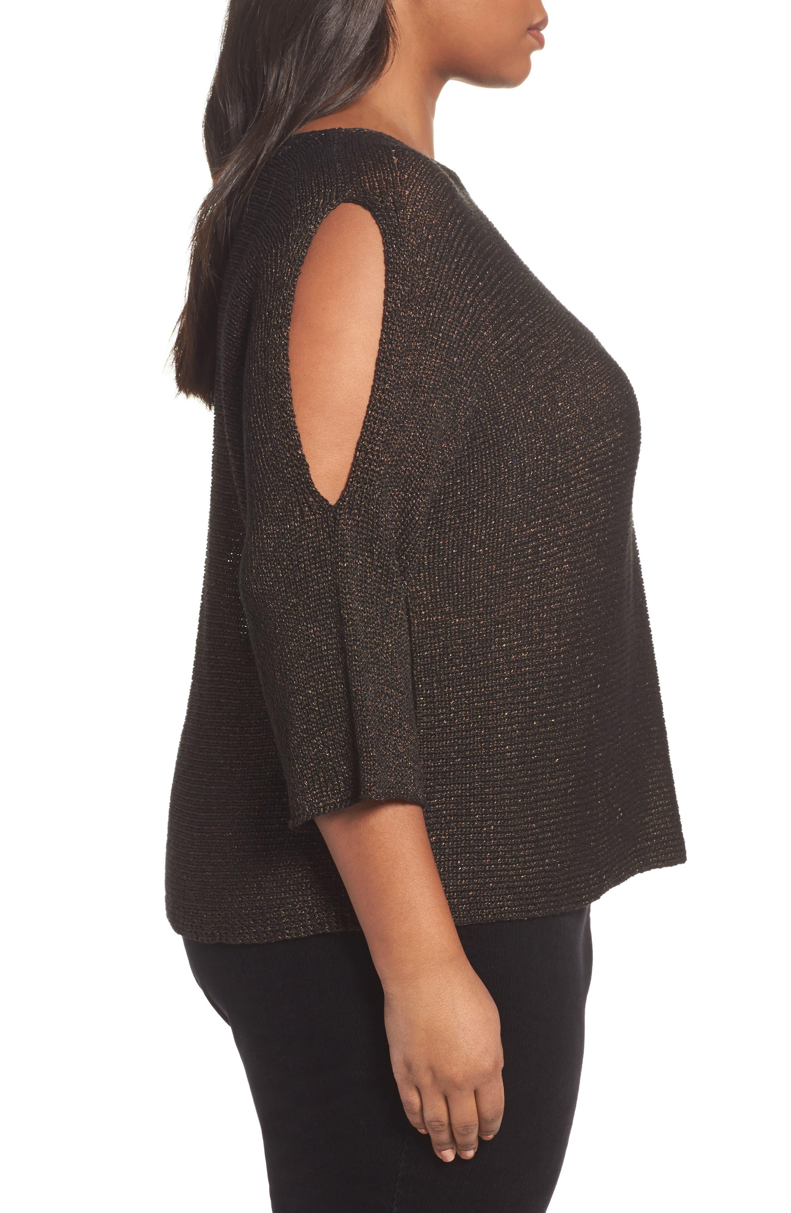 Metallic Organic Linen Blend Sweater,                             Alternate thumbnail 3, color,                             Bronze