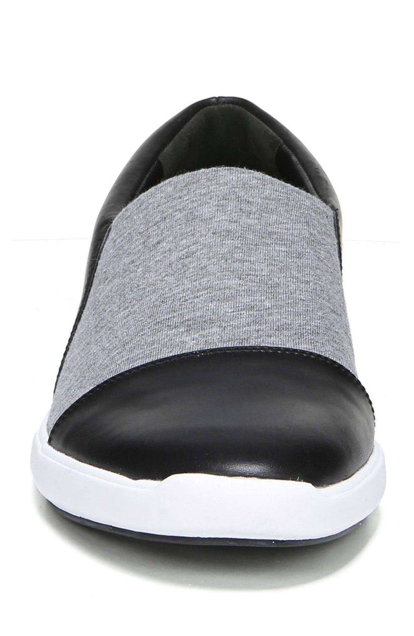 Morgan Slip-On Sneaker,                             Alternate thumbnail 5, color,                             Black/ Gray Stretch Fabric