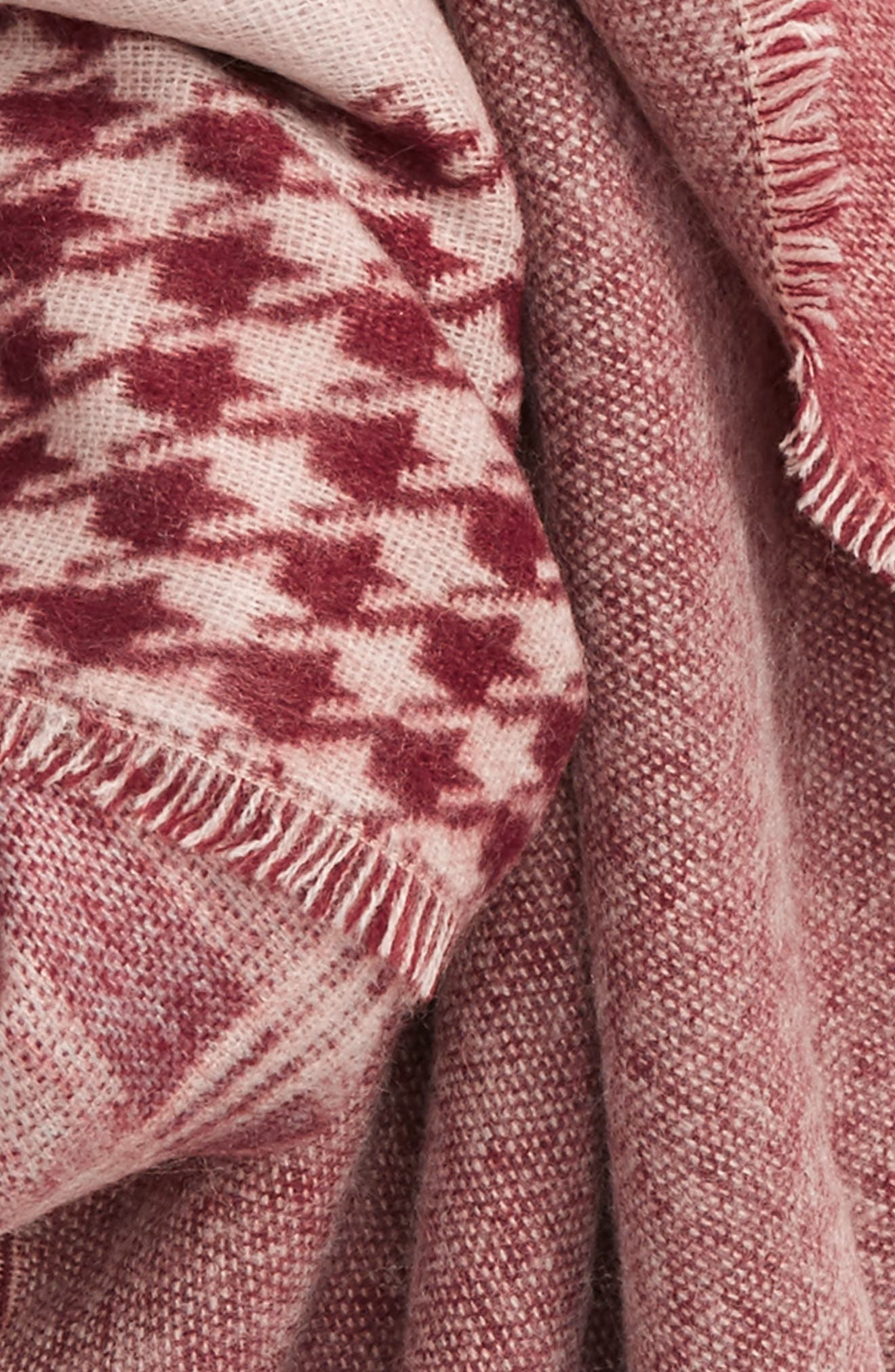 Mixed Pattern Square Scarf,                             Alternate thumbnail 3, color,                             Burgundy Multi