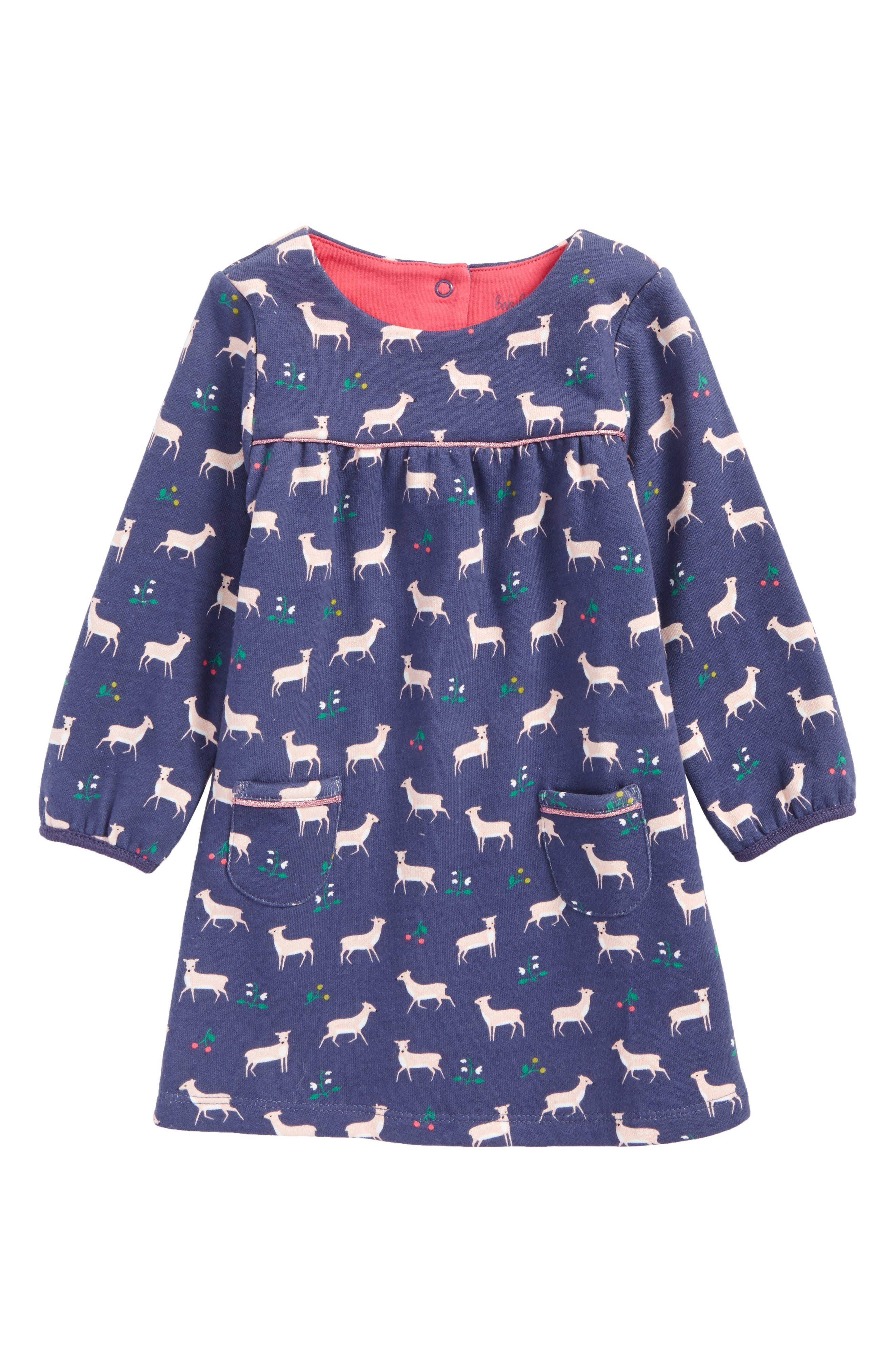 Mini Boden Cozy Deer Print Jersey Dress (Baby Girls & Toddler Girls)