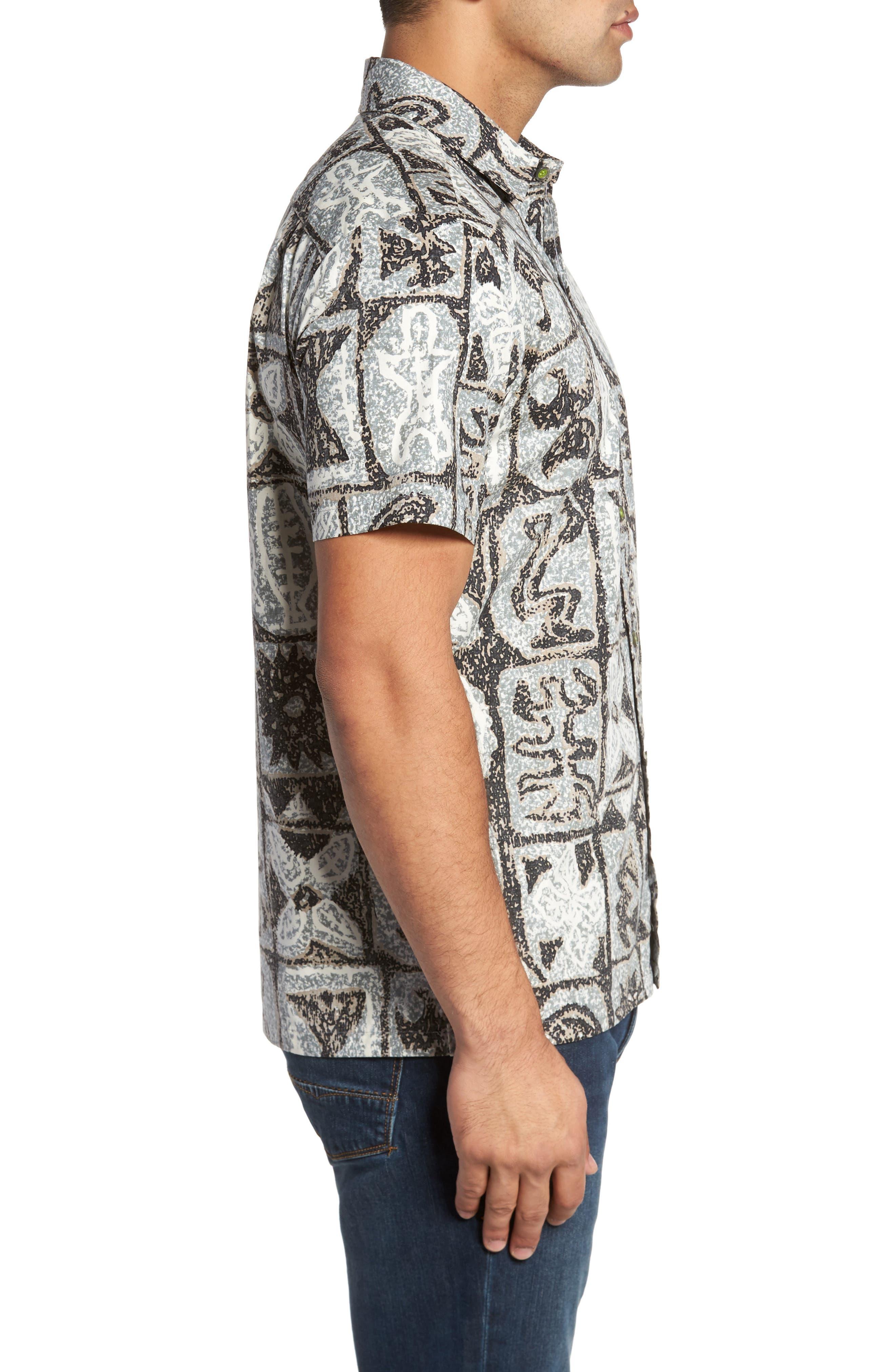 Poi Pounder Trim Fit Print Sport Shirt,                             Alternate thumbnail 3, color,                             Black
