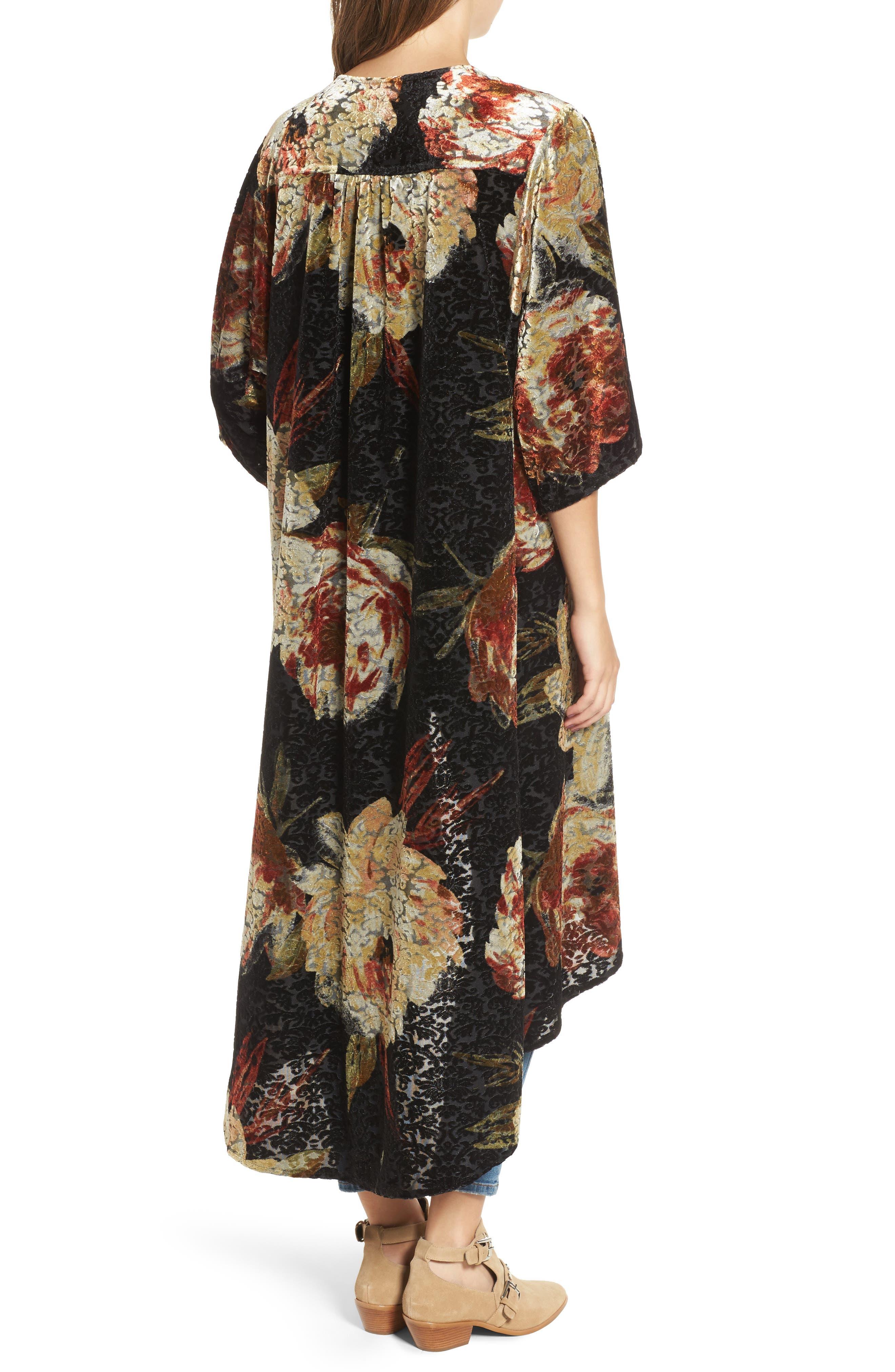 Burnout Floral Kimono,                             Alternate thumbnail 2, color,                             Black Floral