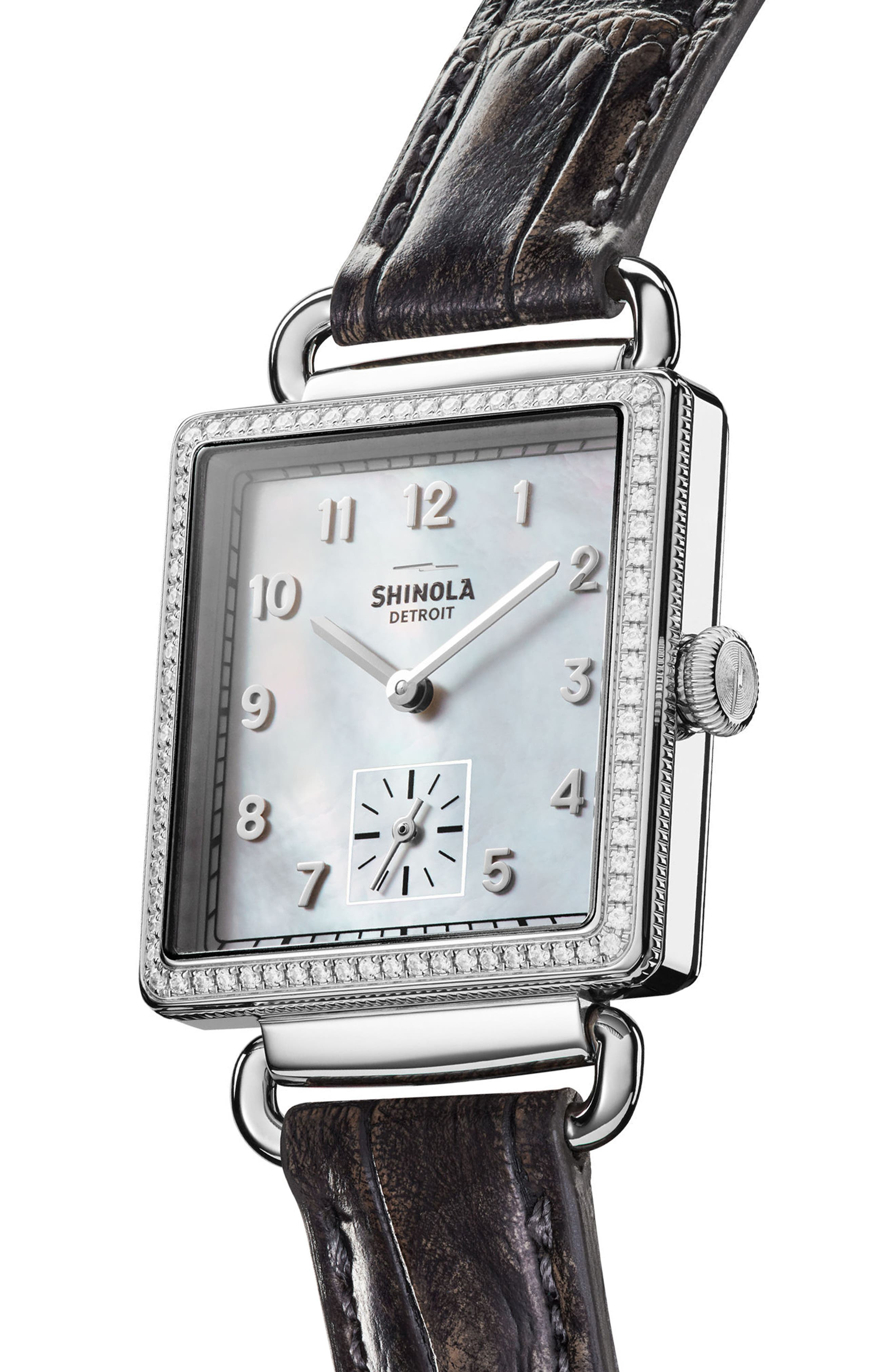 Cass Diamond Leather Strap Watch, 28mm x 27mm,                             Alternate thumbnail 4, color,                             Grey/ White/ Silver