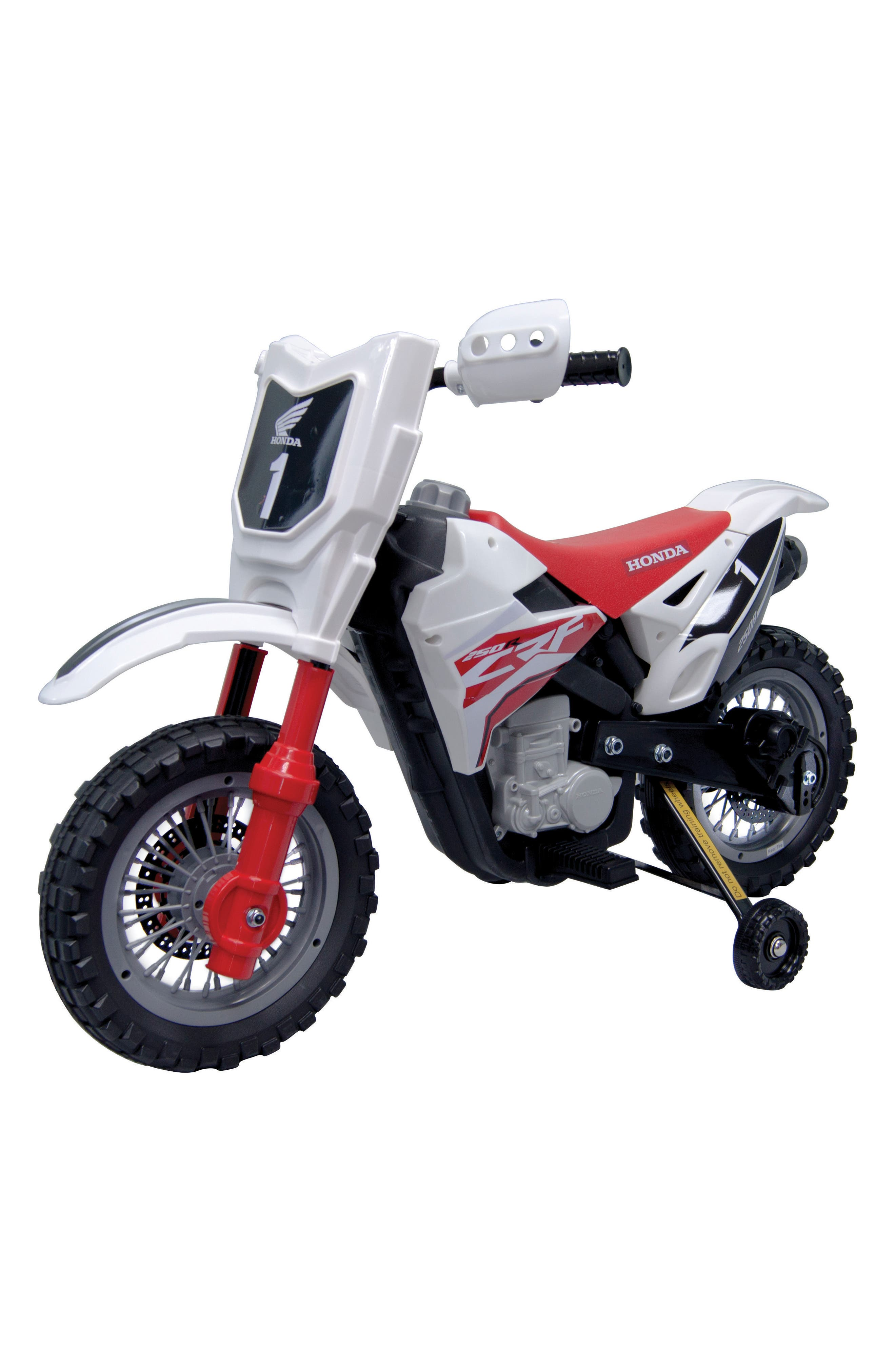 Honda Dirt Bike Ride-On Toy Motorcycle,                             Main thumbnail 1, color,                             White