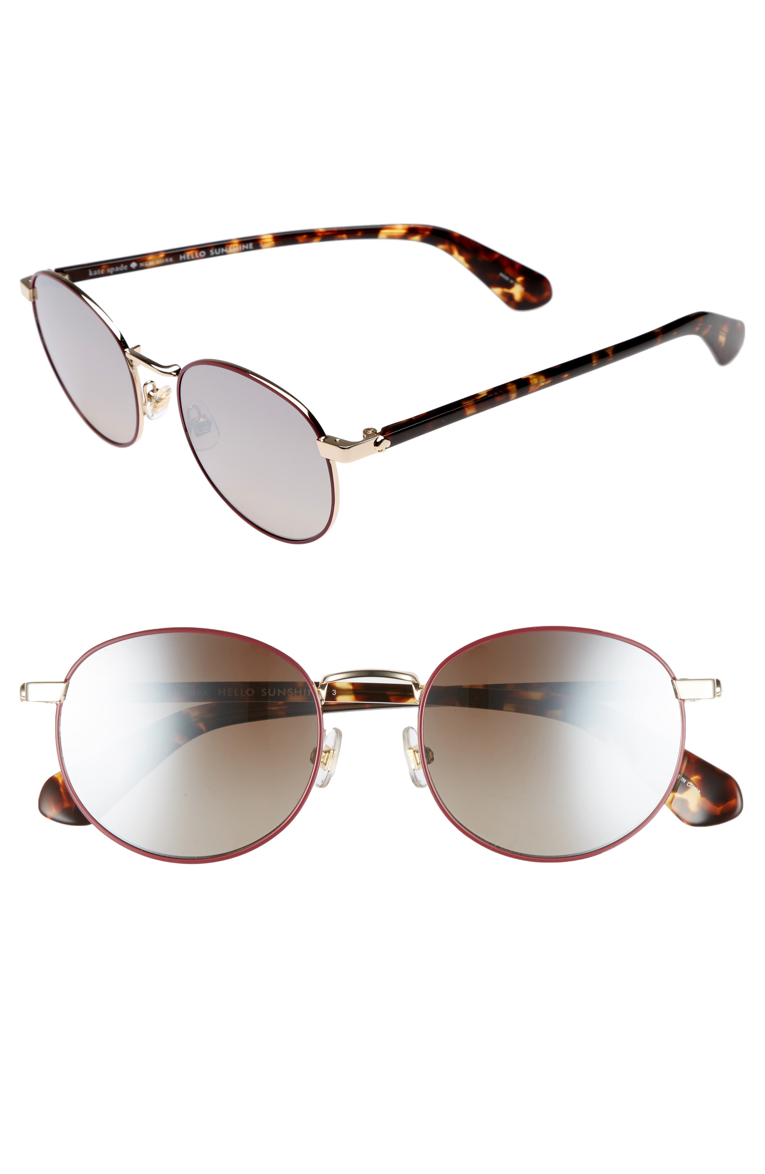 kate spade new york adelais 50mm round sunglasses