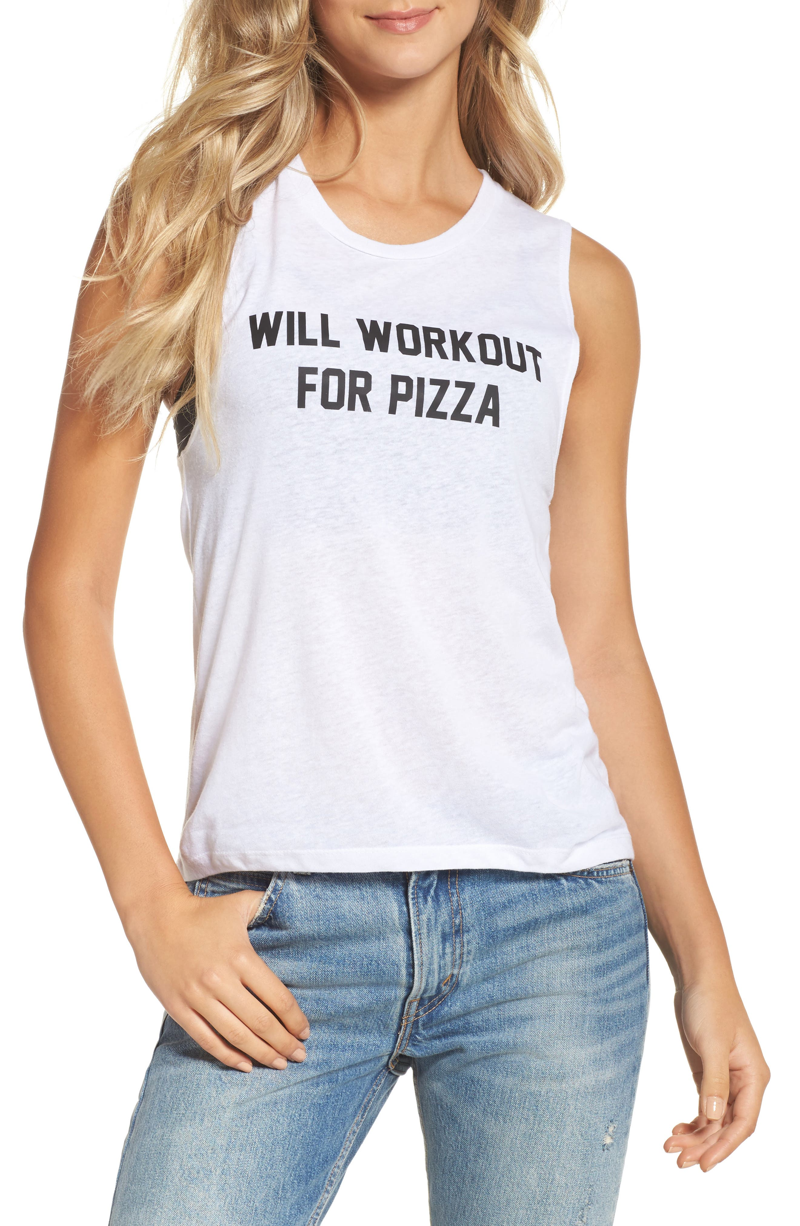 Will Workout for Pizza Tank,                         Main,                         color, White