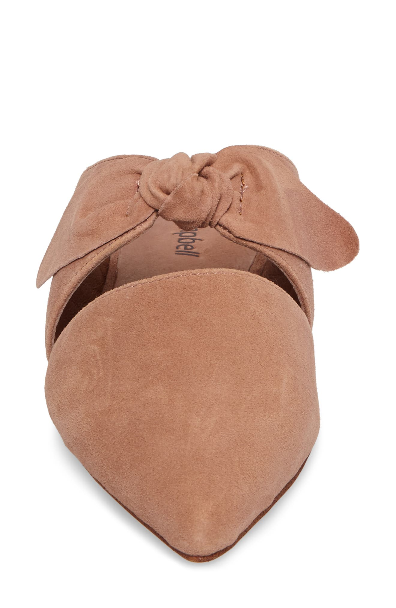 Charlin Bow Mule,                             Alternate thumbnail 4, color,                             Blush Suede