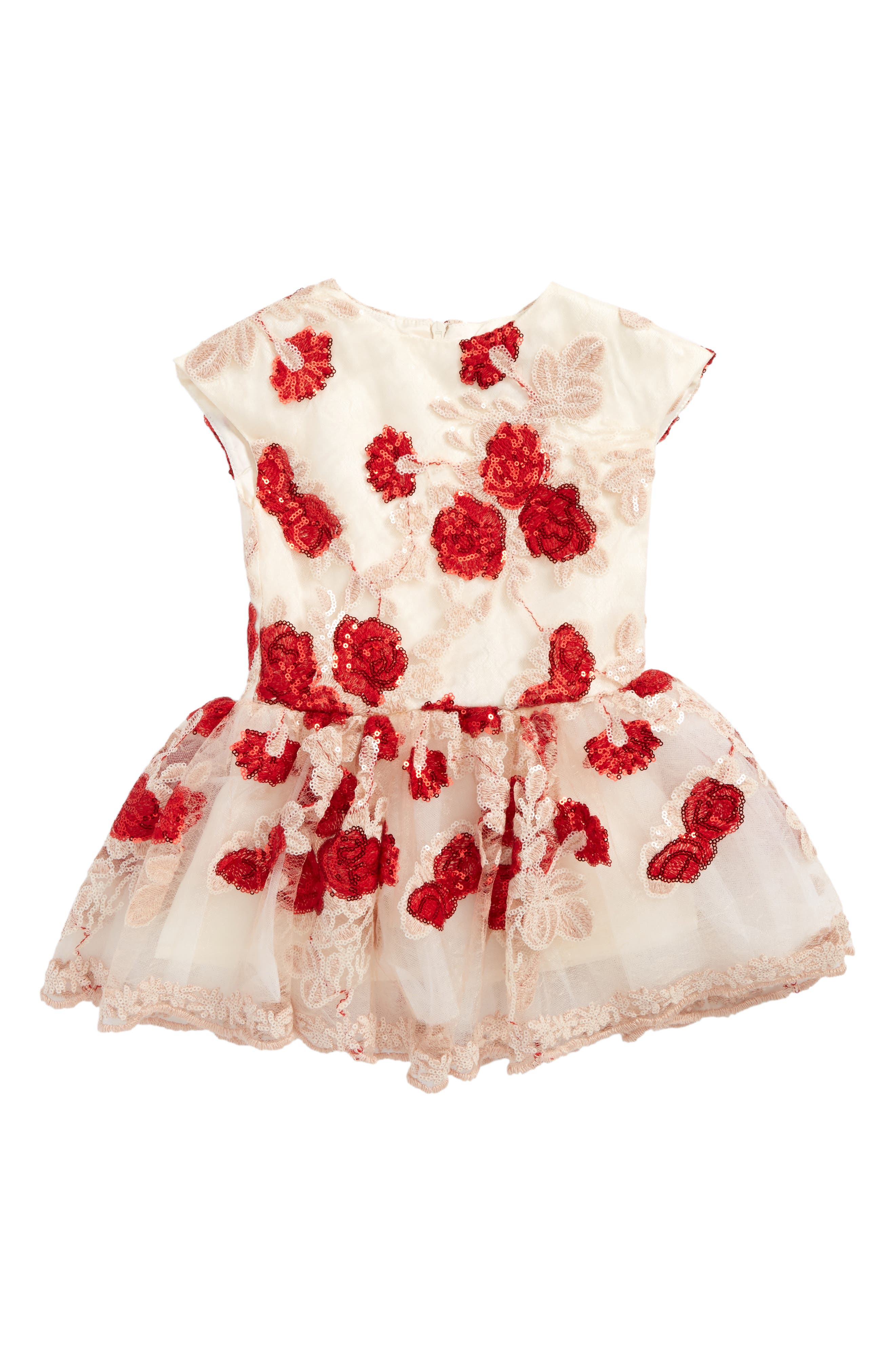 Floral Sequin Dress,                         Main,                         color, Red