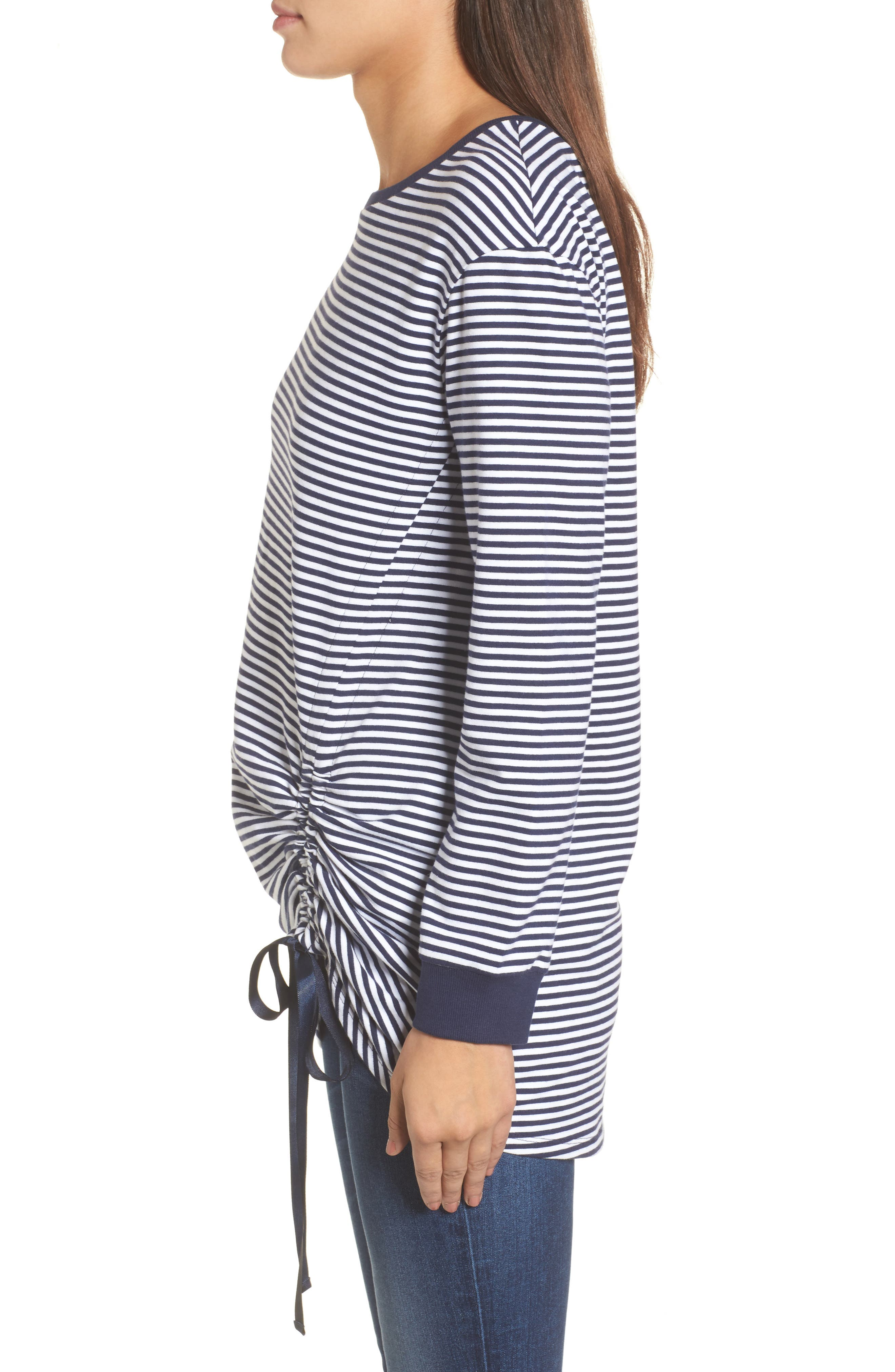 Ruched Front Tunic Sweatshirt,                             Alternate thumbnail 3, color,                             Navy- White Stripe