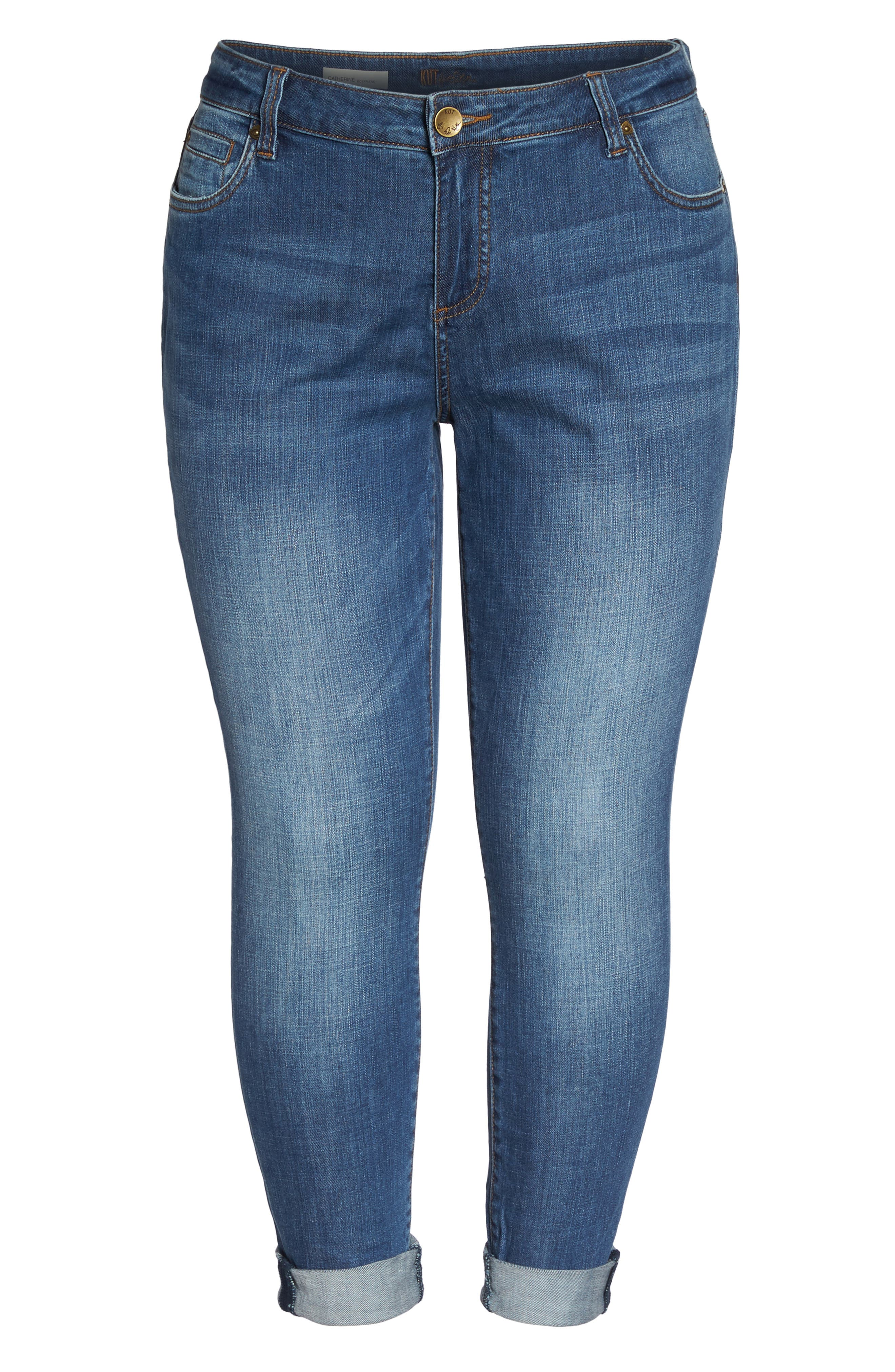Alternate Image 6  - KUT from the Kloth Catherine Boyfriend Jeans (Fervent) (Plus Size)