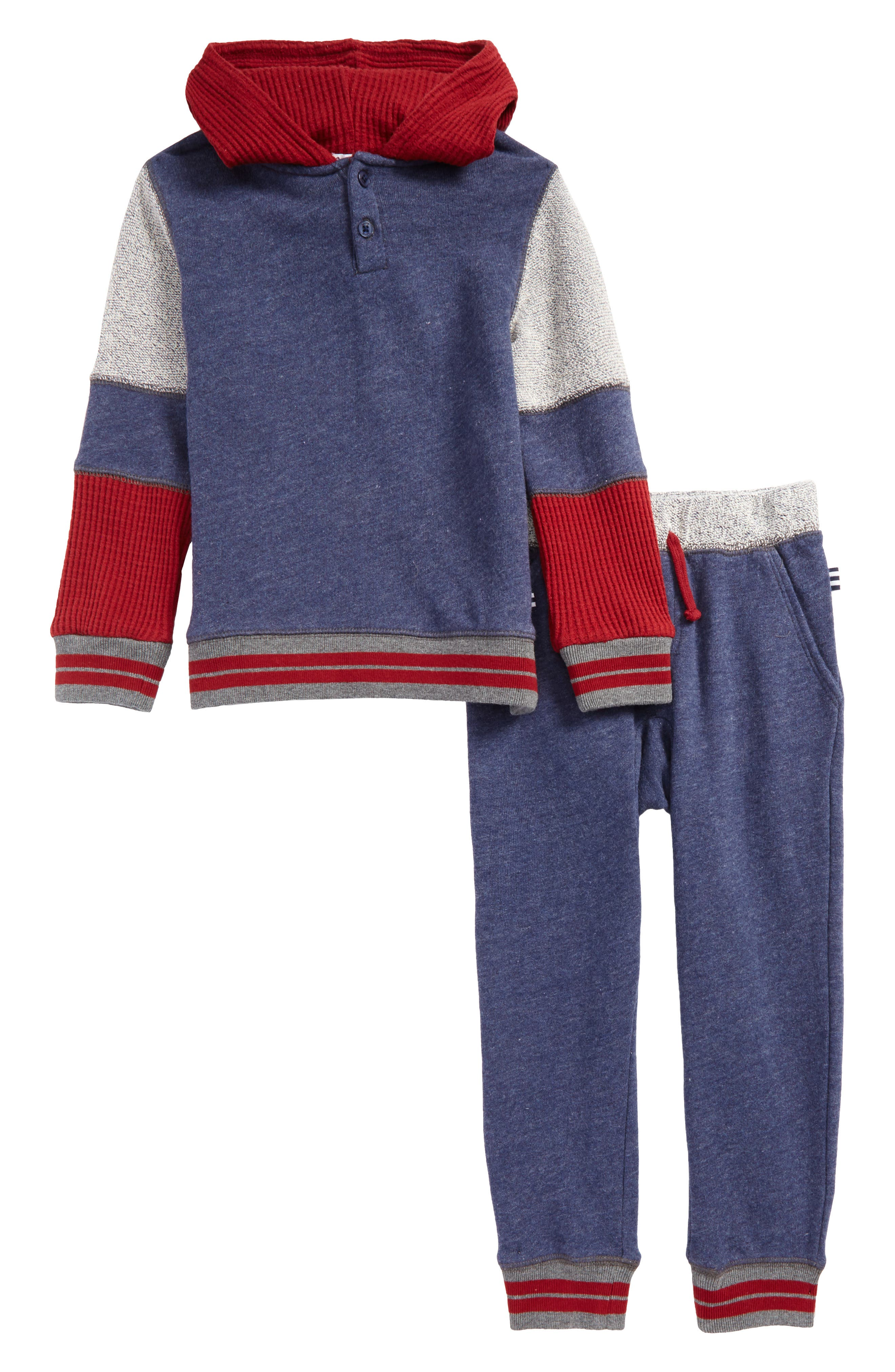 Mixed Media Hoodie & Sweatpants Set,                         Main,                         color, Navy Heather