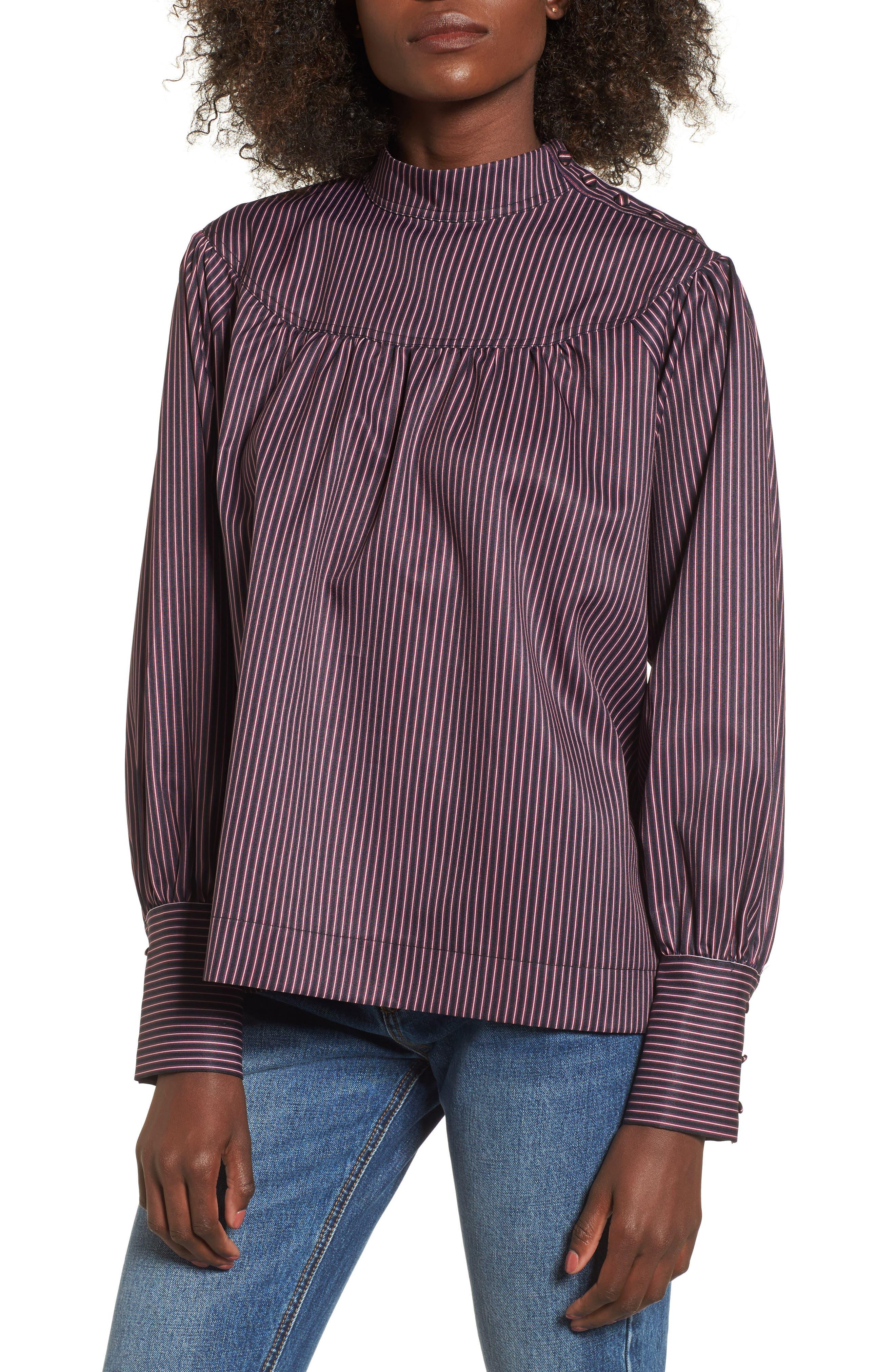 Shirring Stripe Top,                         Main,                         color, Burgundy Multi