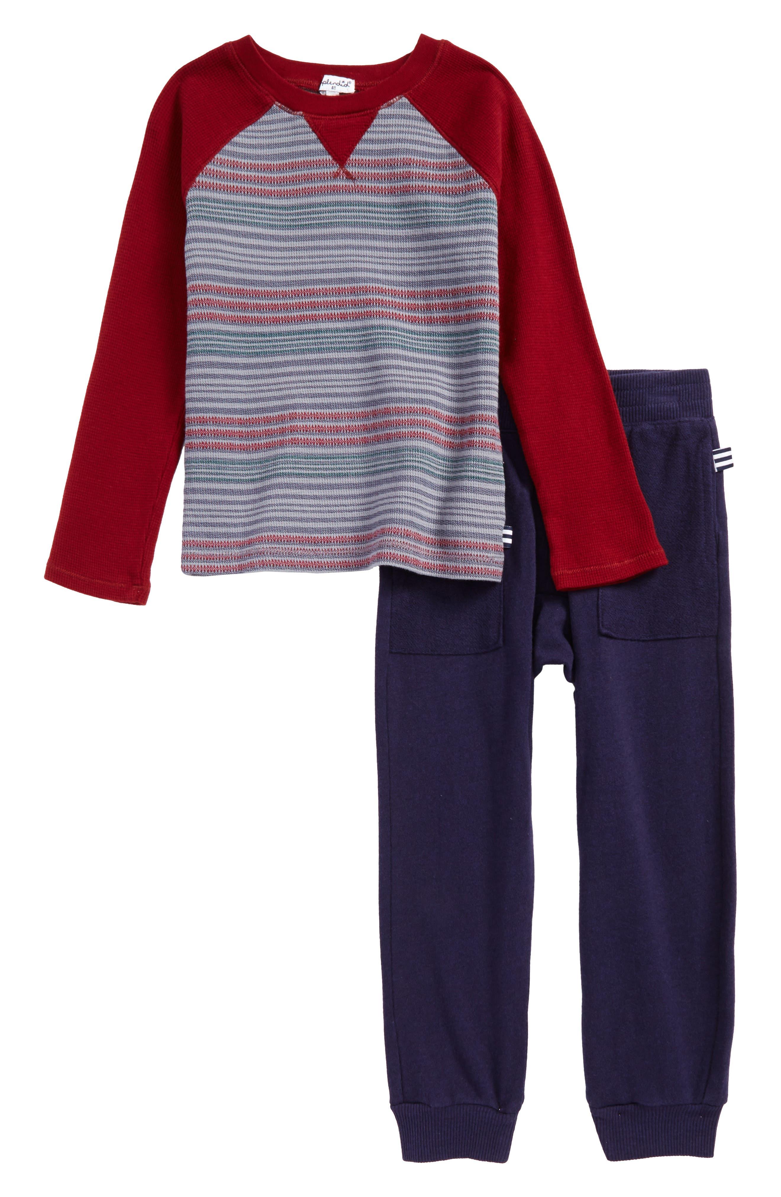 Stripe Thermal T-Shirt & Sweatpants Set,                             Main thumbnail 1, color,                             Burgundy