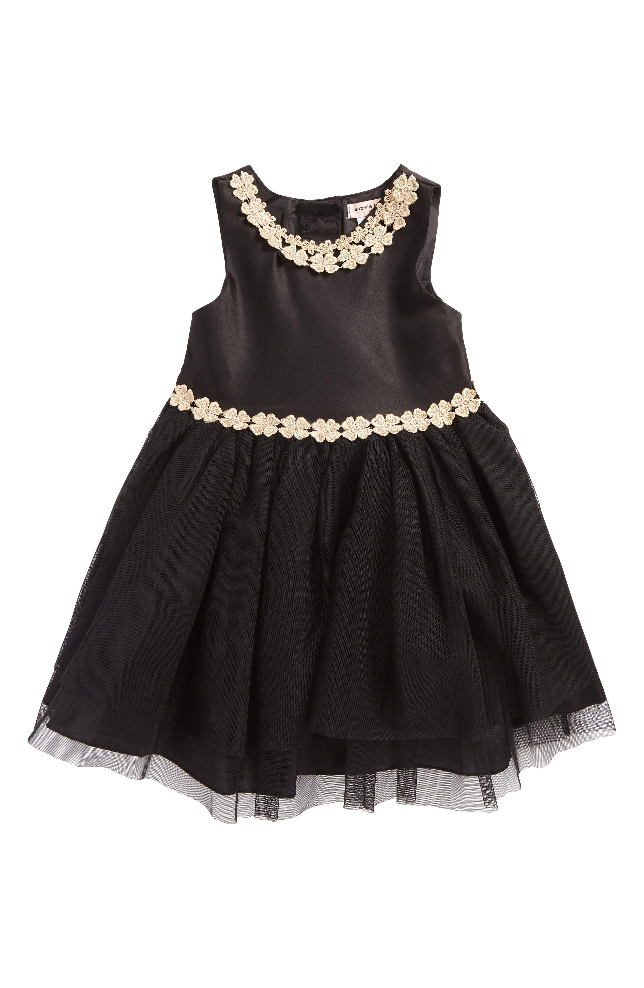 Satin & Tulle Dress,                         Main,                         color, Black