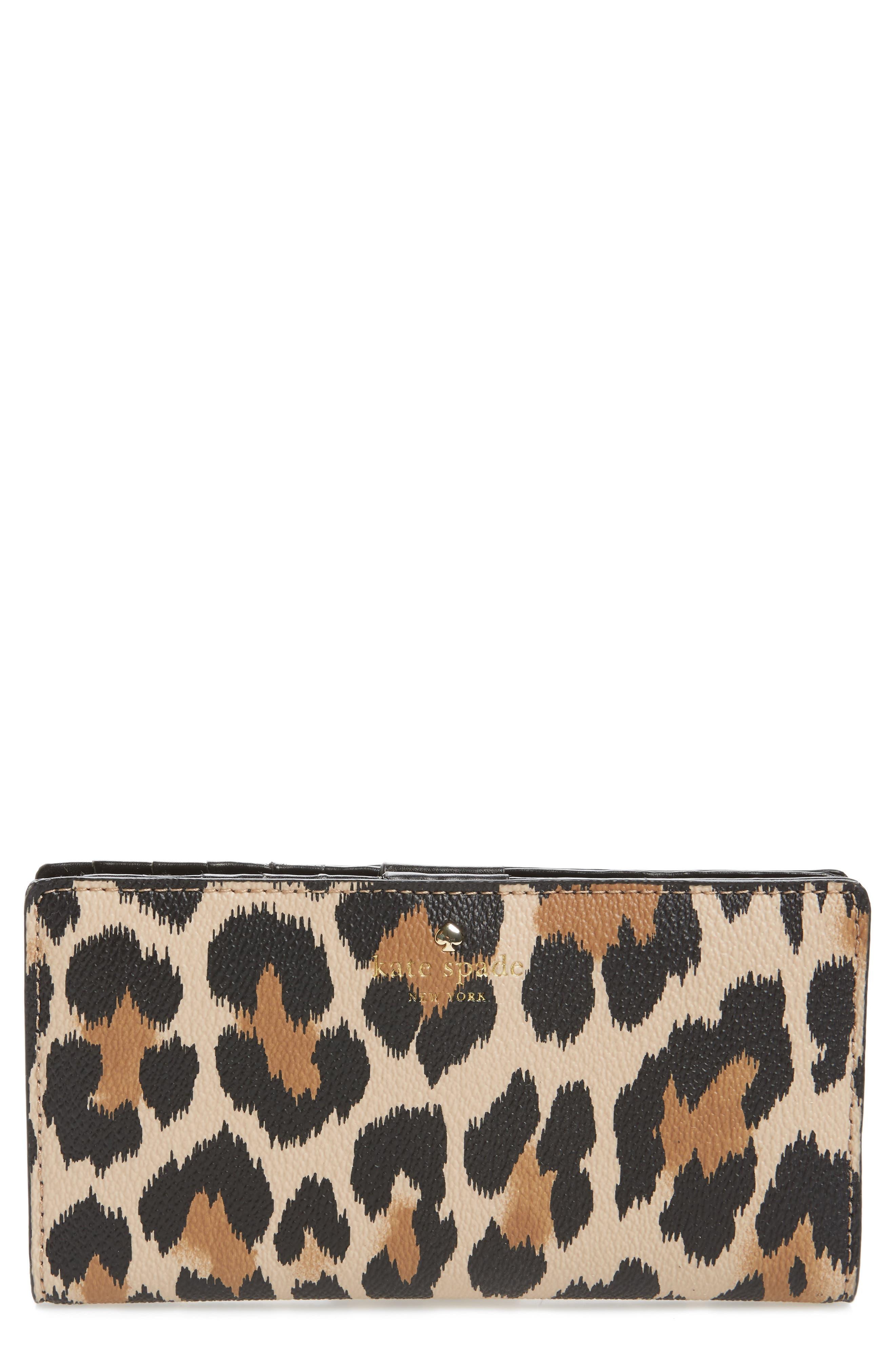 kate spade new york hyde lane leopard - stacy wallet
