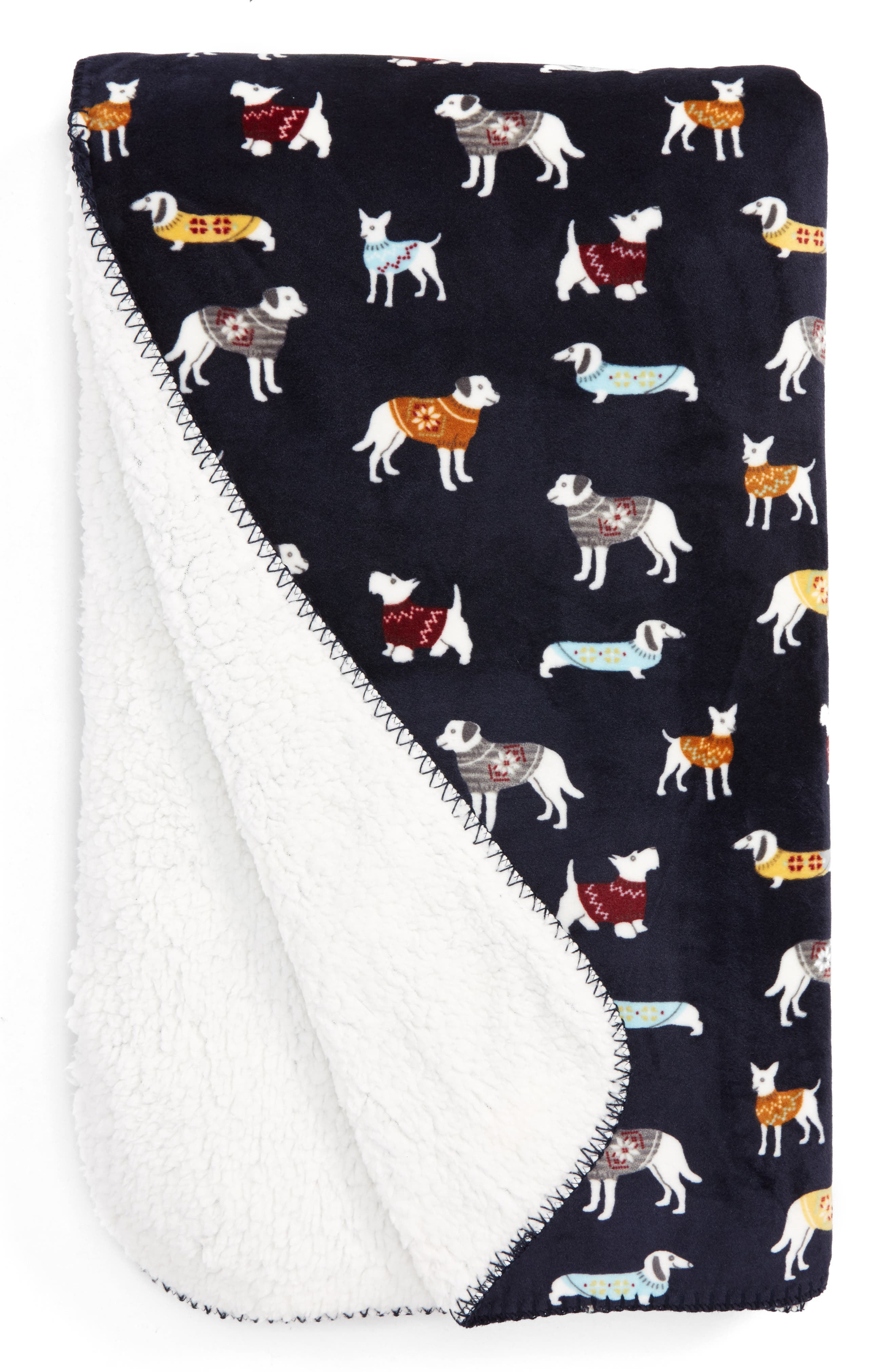 Dogs Wearing Sweaters Blanket,                         Main,                         color, Navy