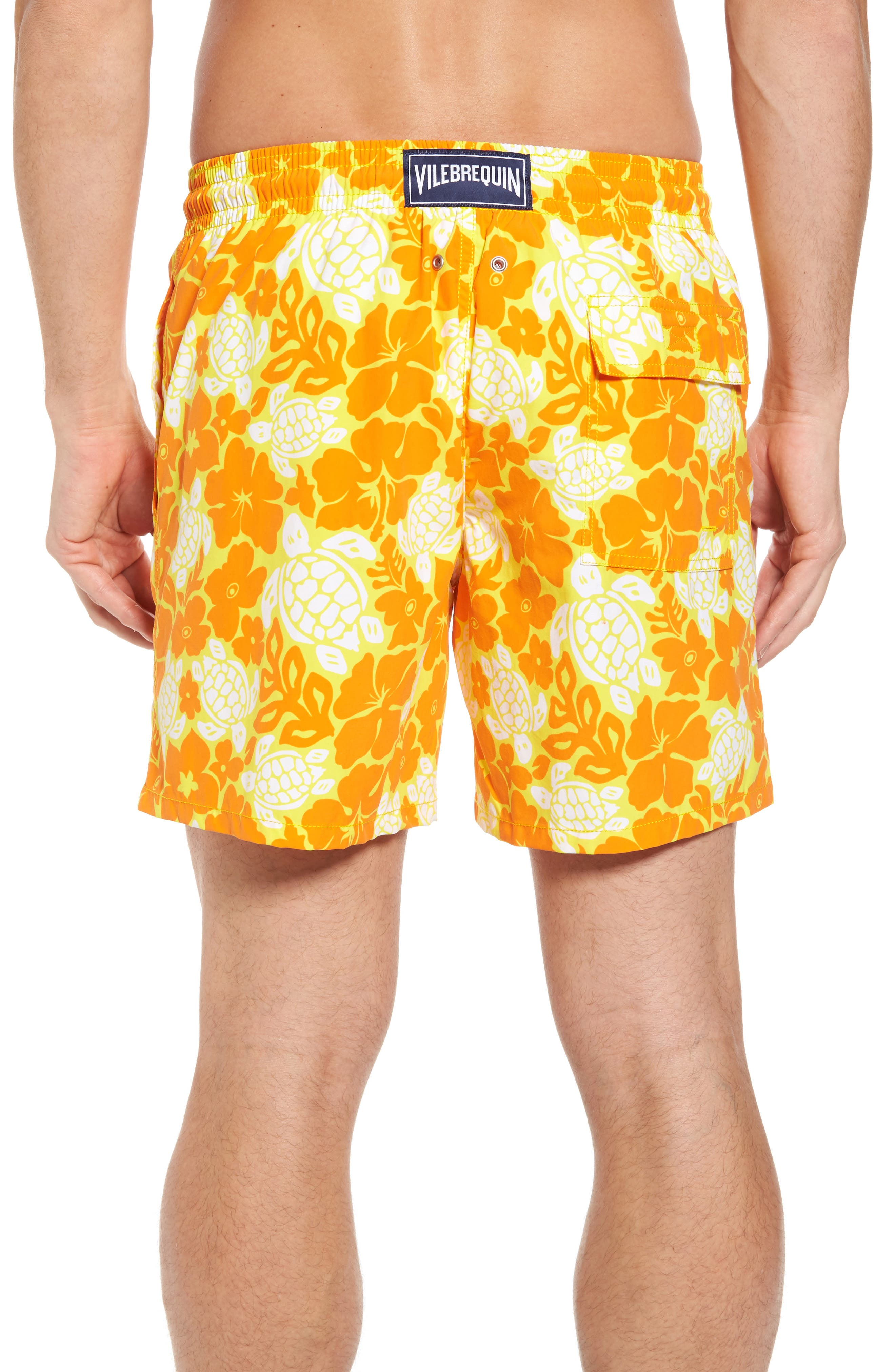 Moorea Hawaiian Turtles Swim Shorts,                             Alternate thumbnail 2, color,                             Lemon
