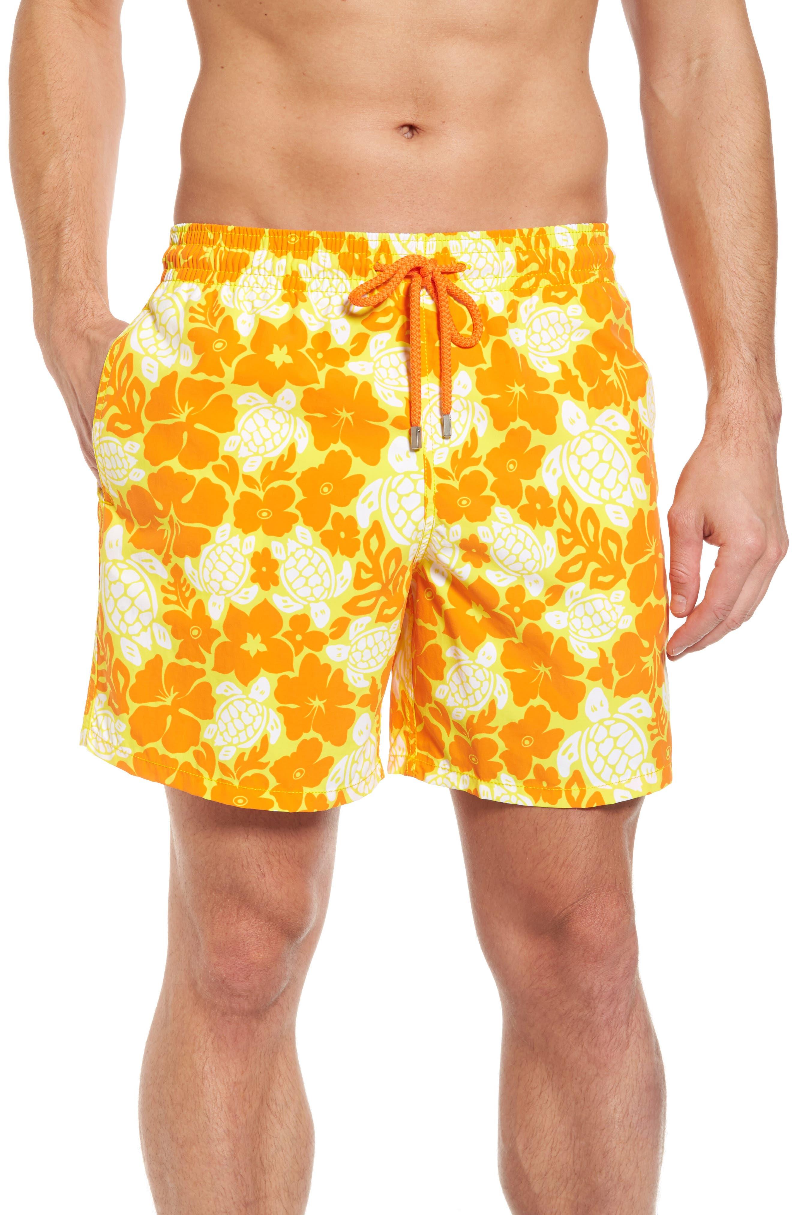 Moorea Hawaiian Turtles Swim Shorts,                             Main thumbnail 1, color,                             Lemon