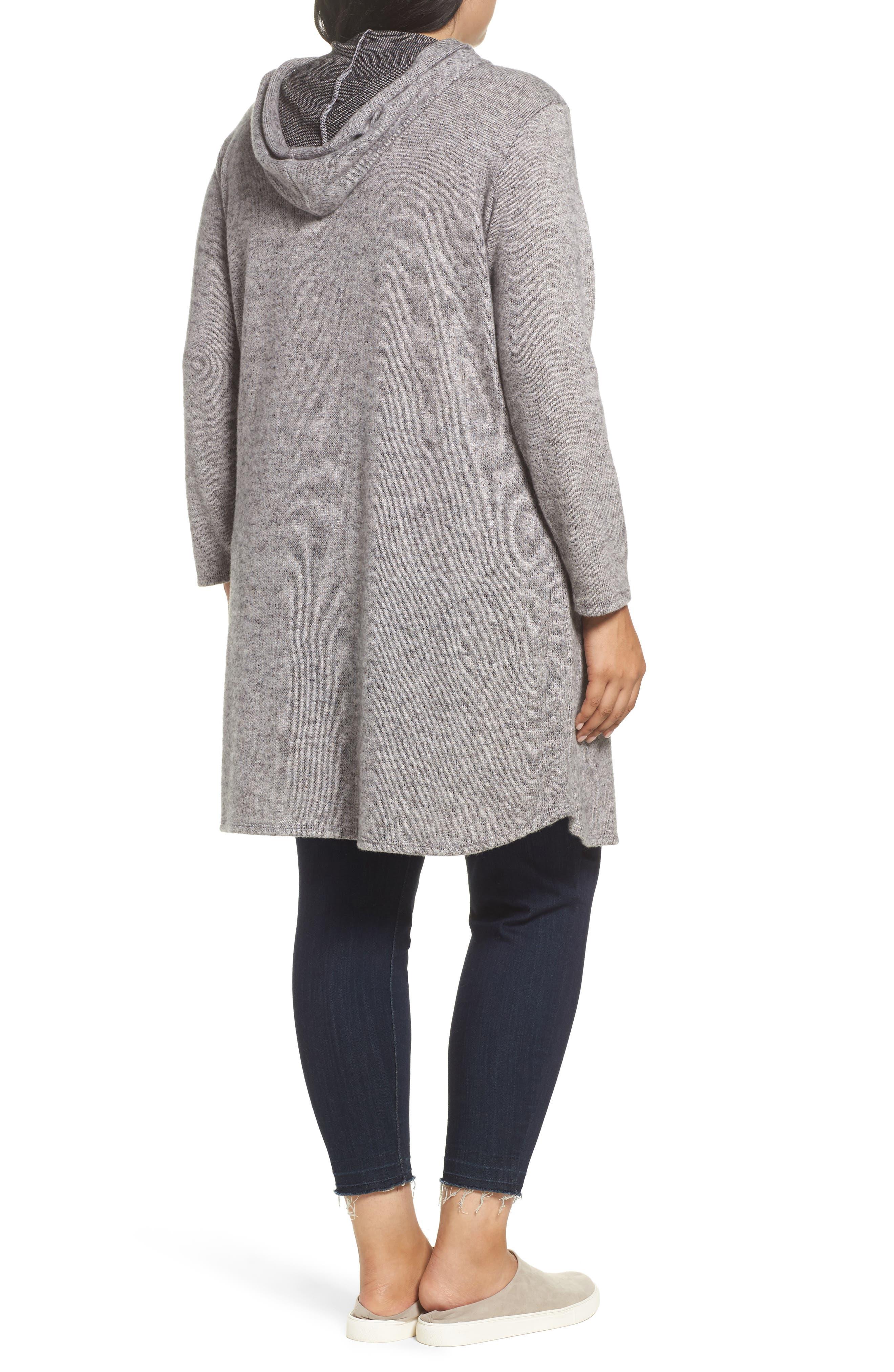Hooded Knit Tunic,                             Alternate thumbnail 2, color,                             Light Grey