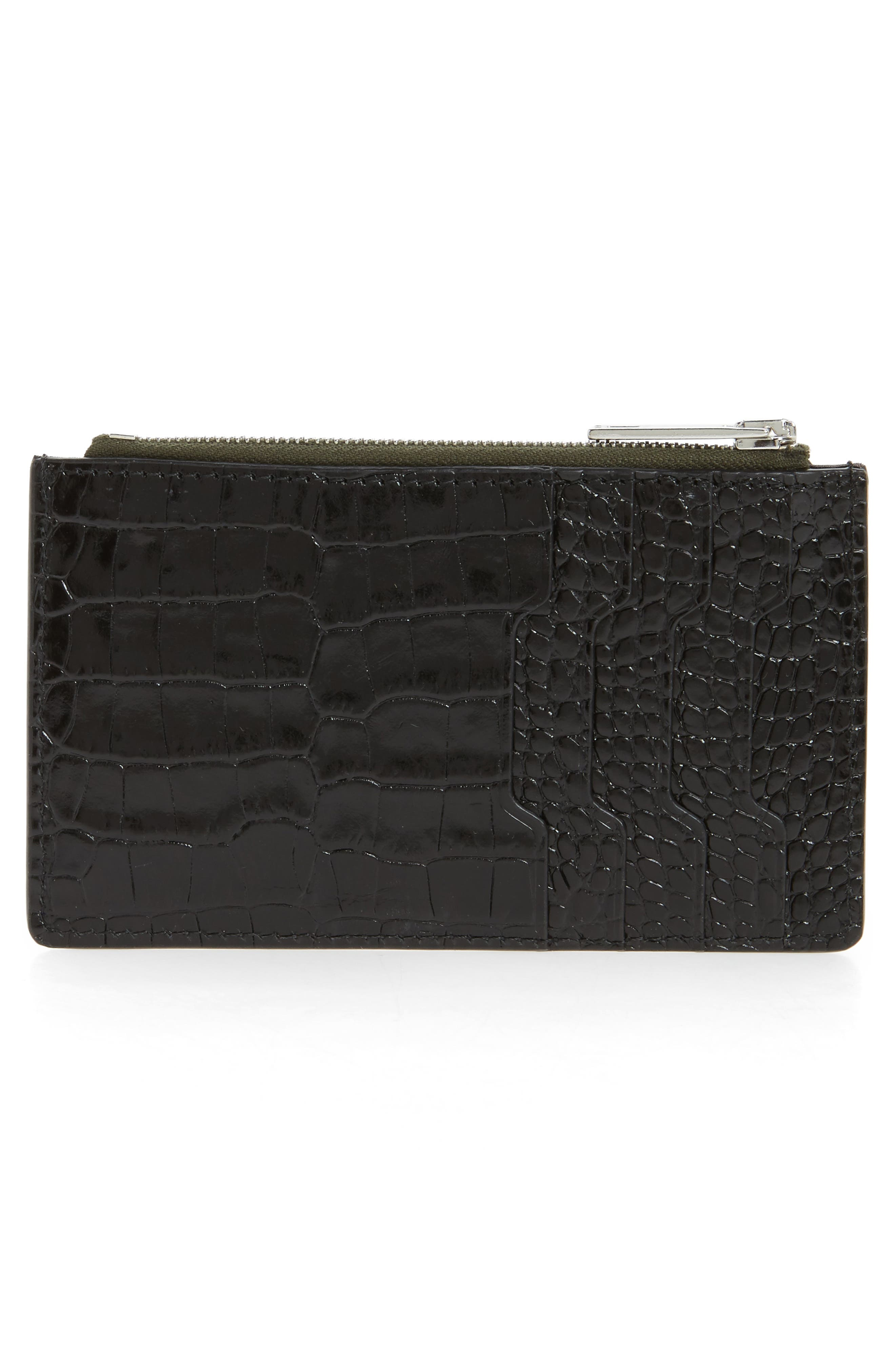 Croc Embossed Leather Zip Card Case,                             Alternate thumbnail 2, color,                             Black Croco