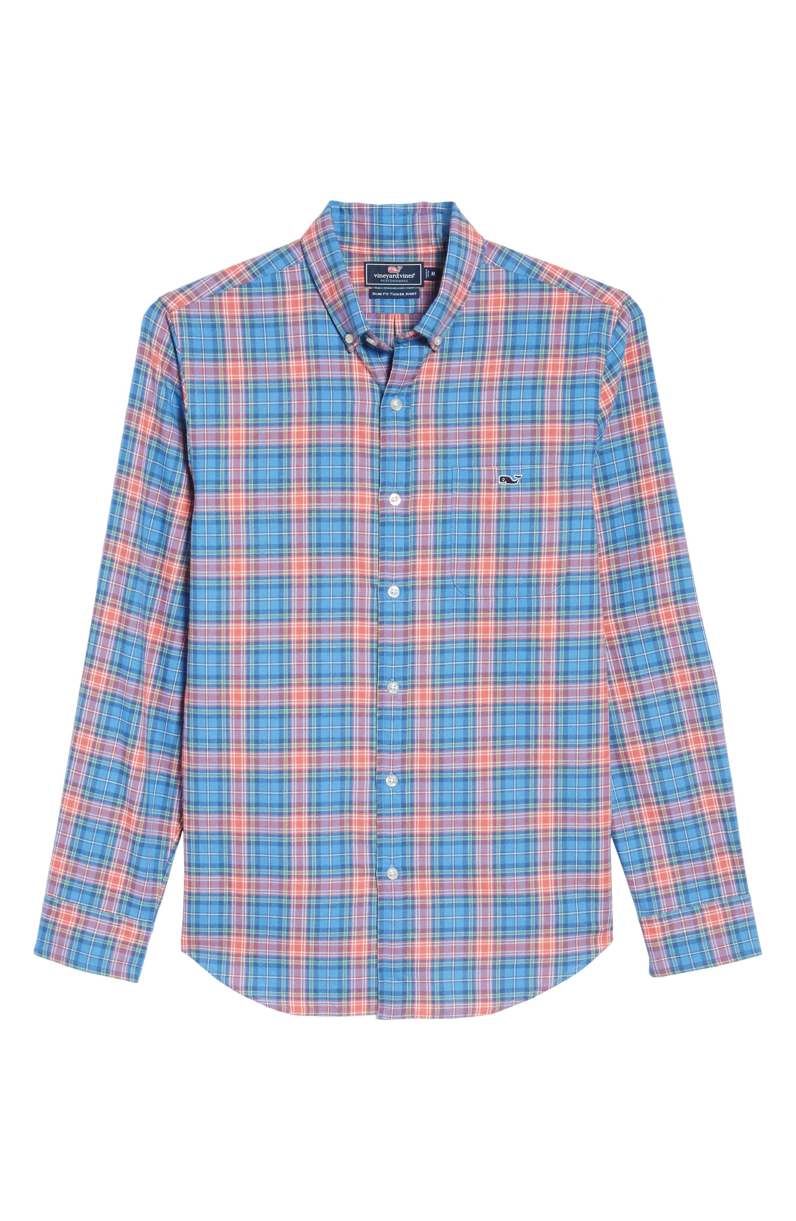Kingsley Park Slim Fit Plaid Sport Shirt,                             Alternate thumbnail 6, color,                             Bimini Blue