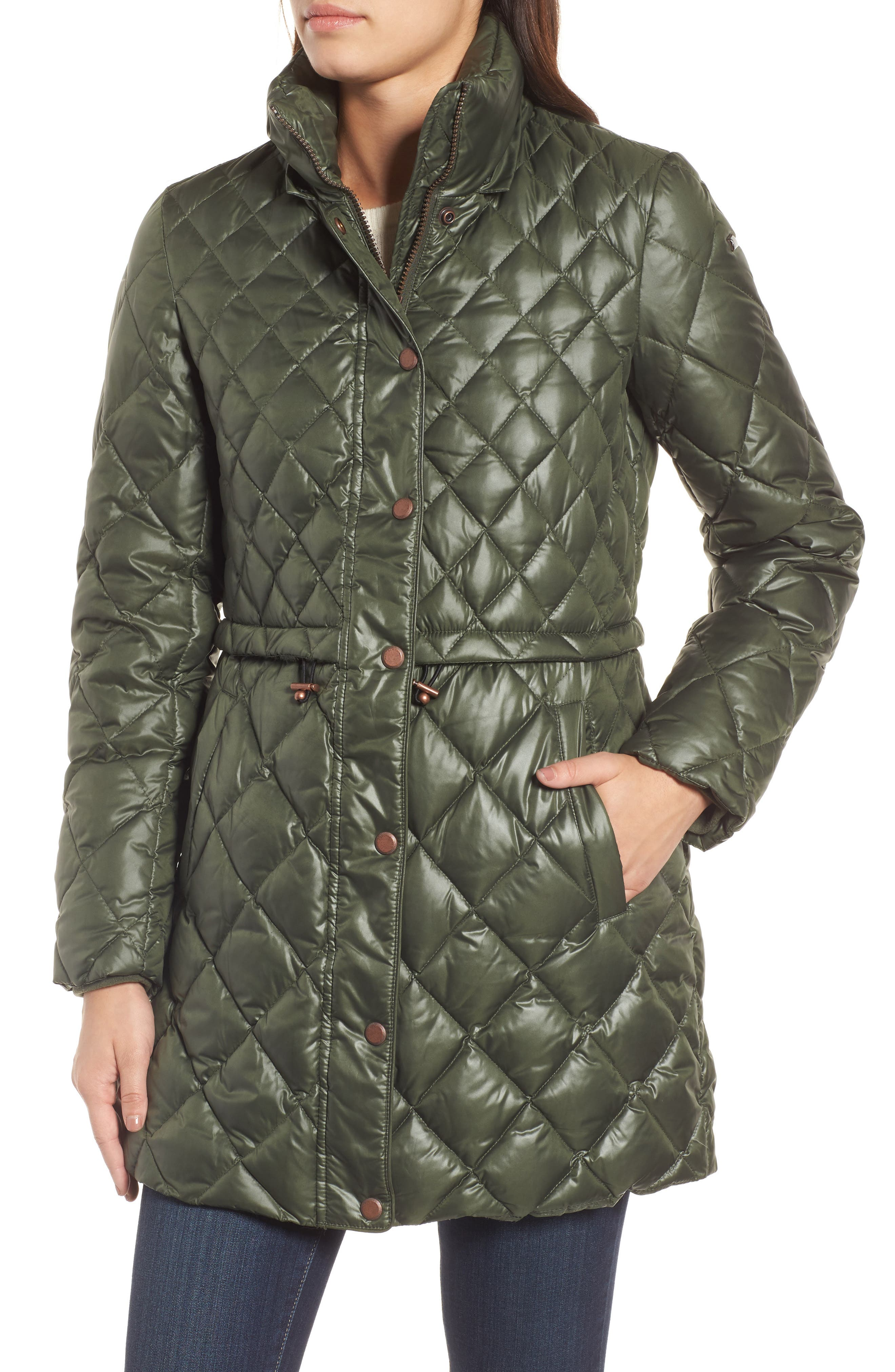 Quilted Anorak with Genuine Coyote Fur,                             Alternate thumbnail 4, color,                             Olive