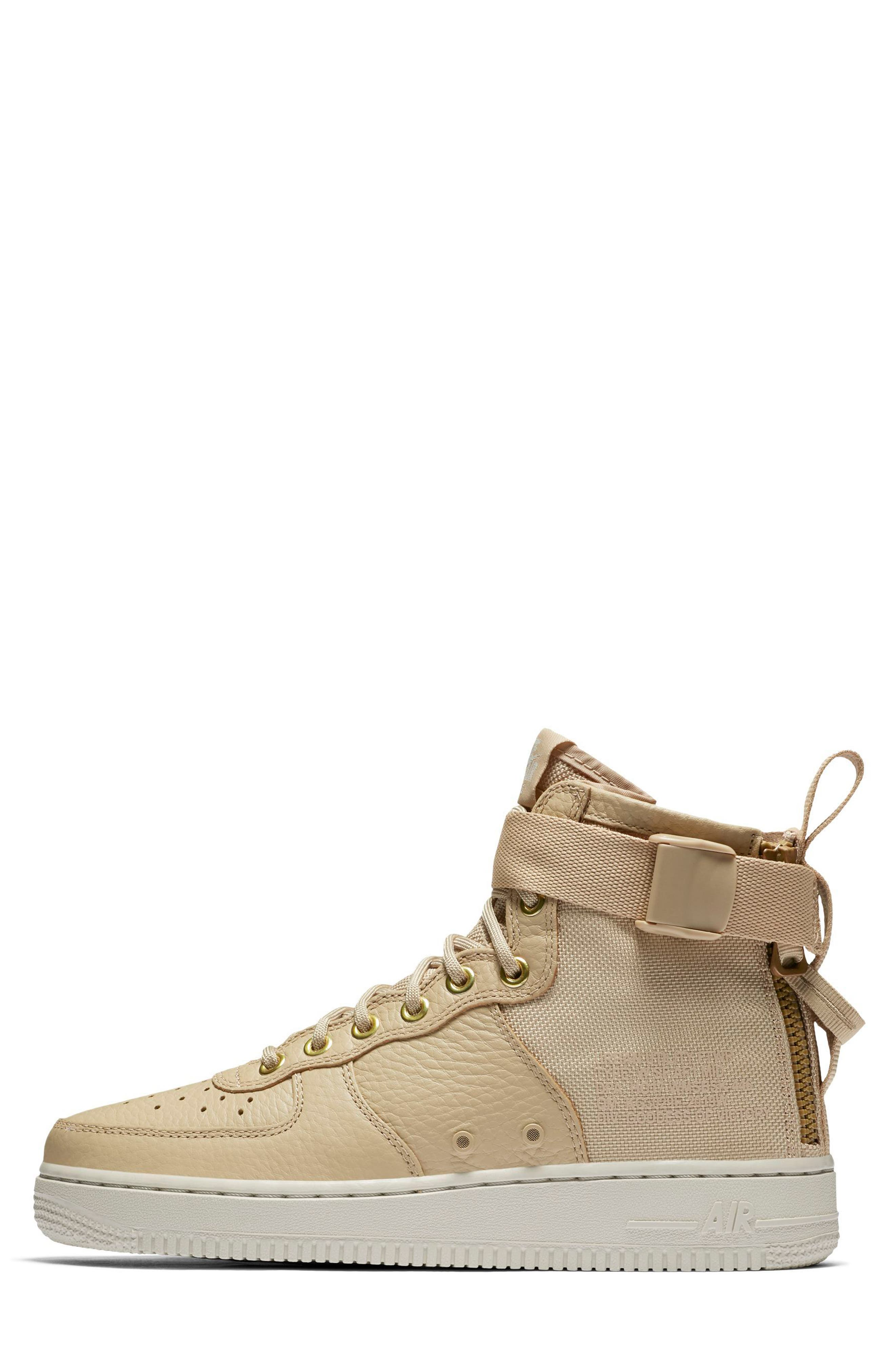SF Air Force 1 Mid Sneaker,                             Alternate thumbnail 3, color,                             Mushroom/ Mushroom/ Light Bone