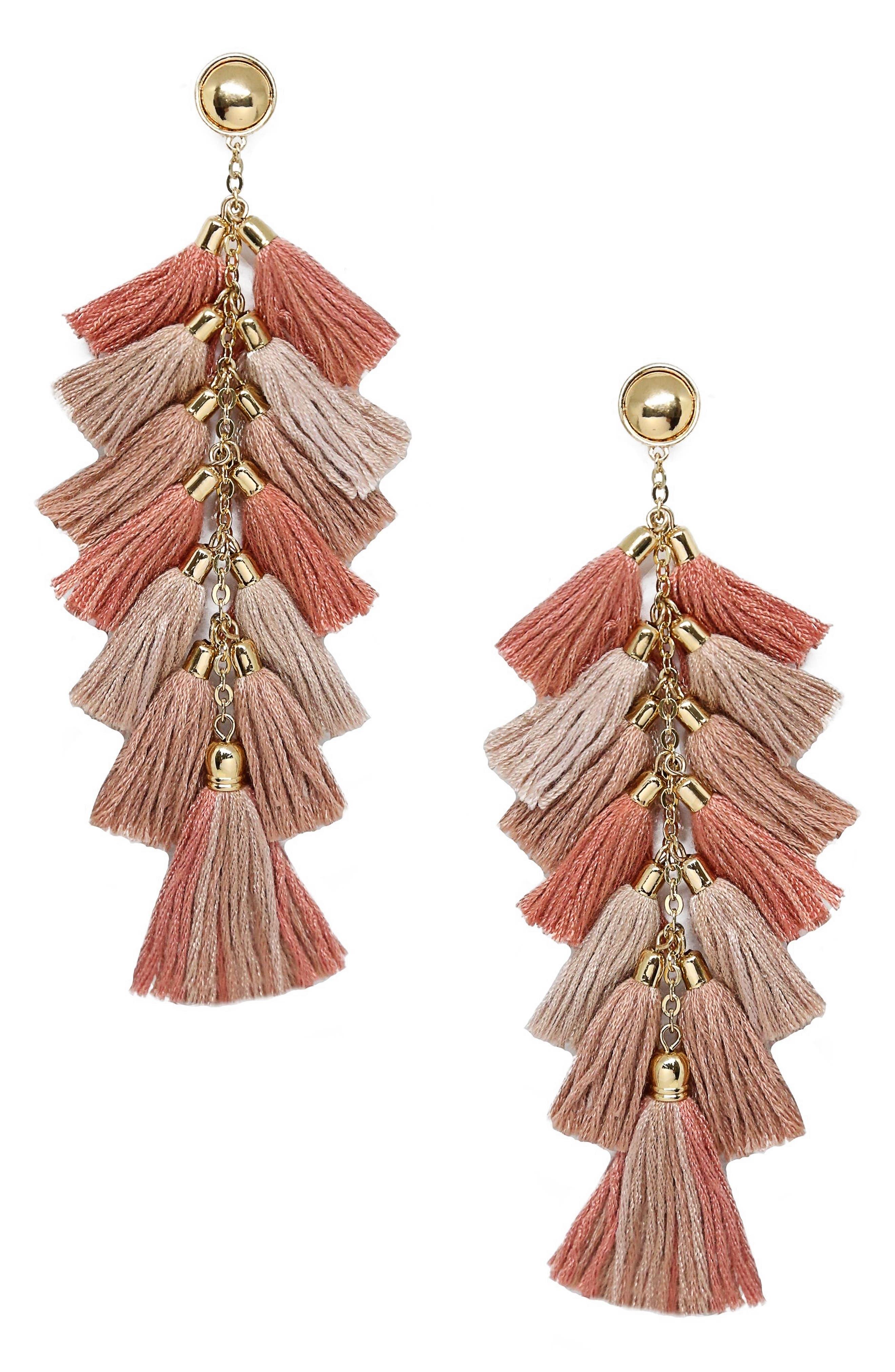Multi Tassel Statement Earrings,                         Main,                         color, Beige