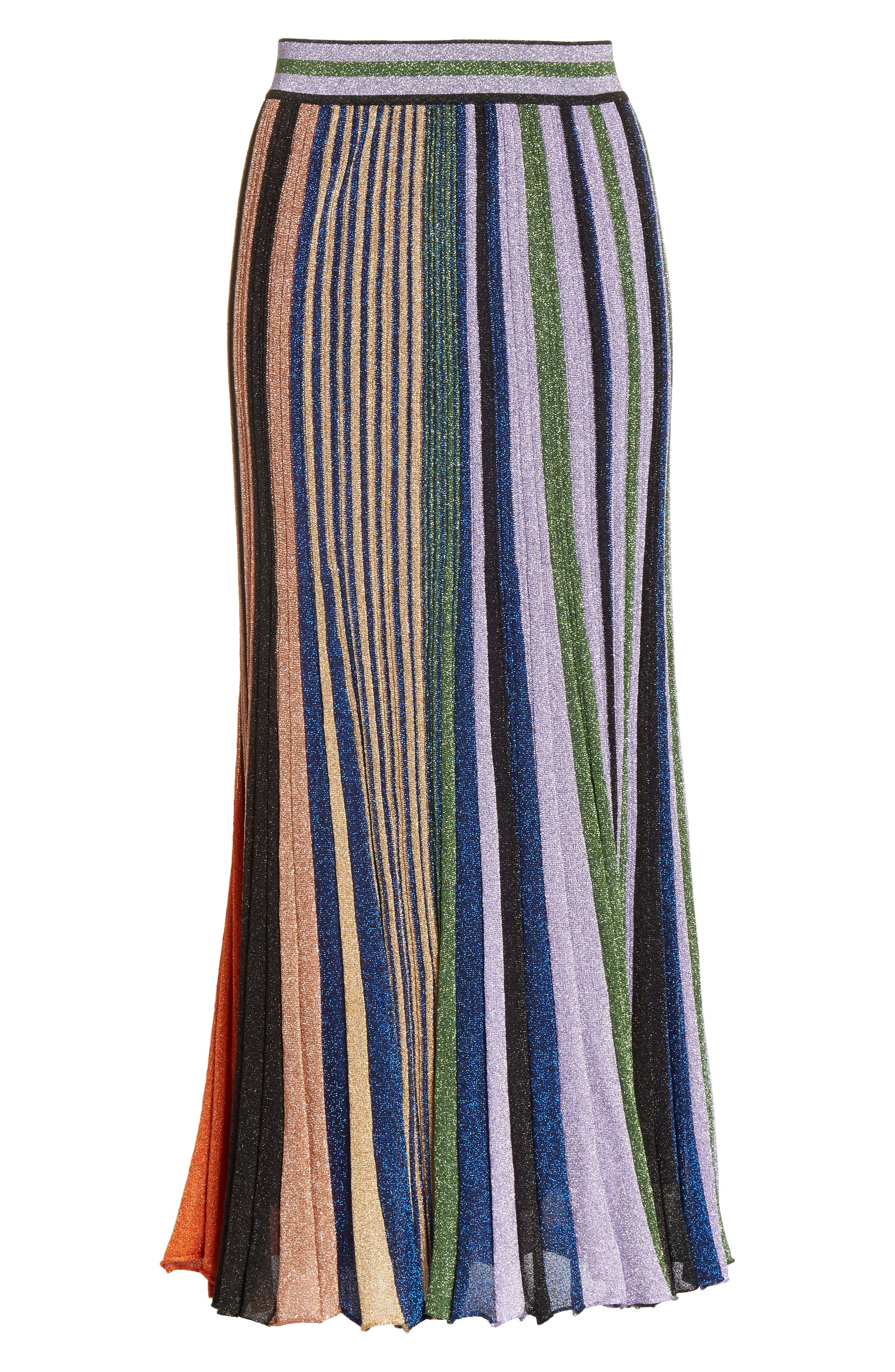 Metallic Stripe Knit Midi Skirt,                             Alternate thumbnail 6, color,                             Orange