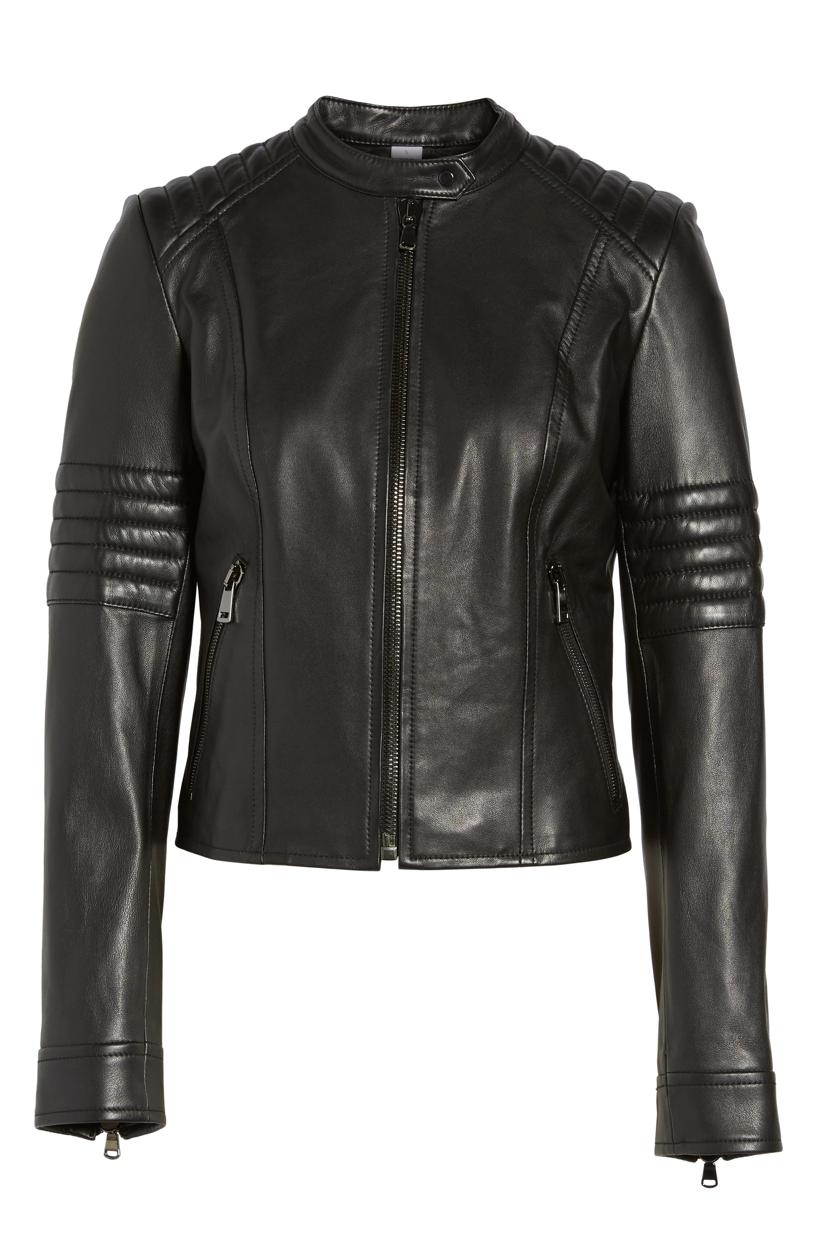 Quilted Sleeve Leather Biker Jacket,                             Alternate thumbnail 6, color,                             Black