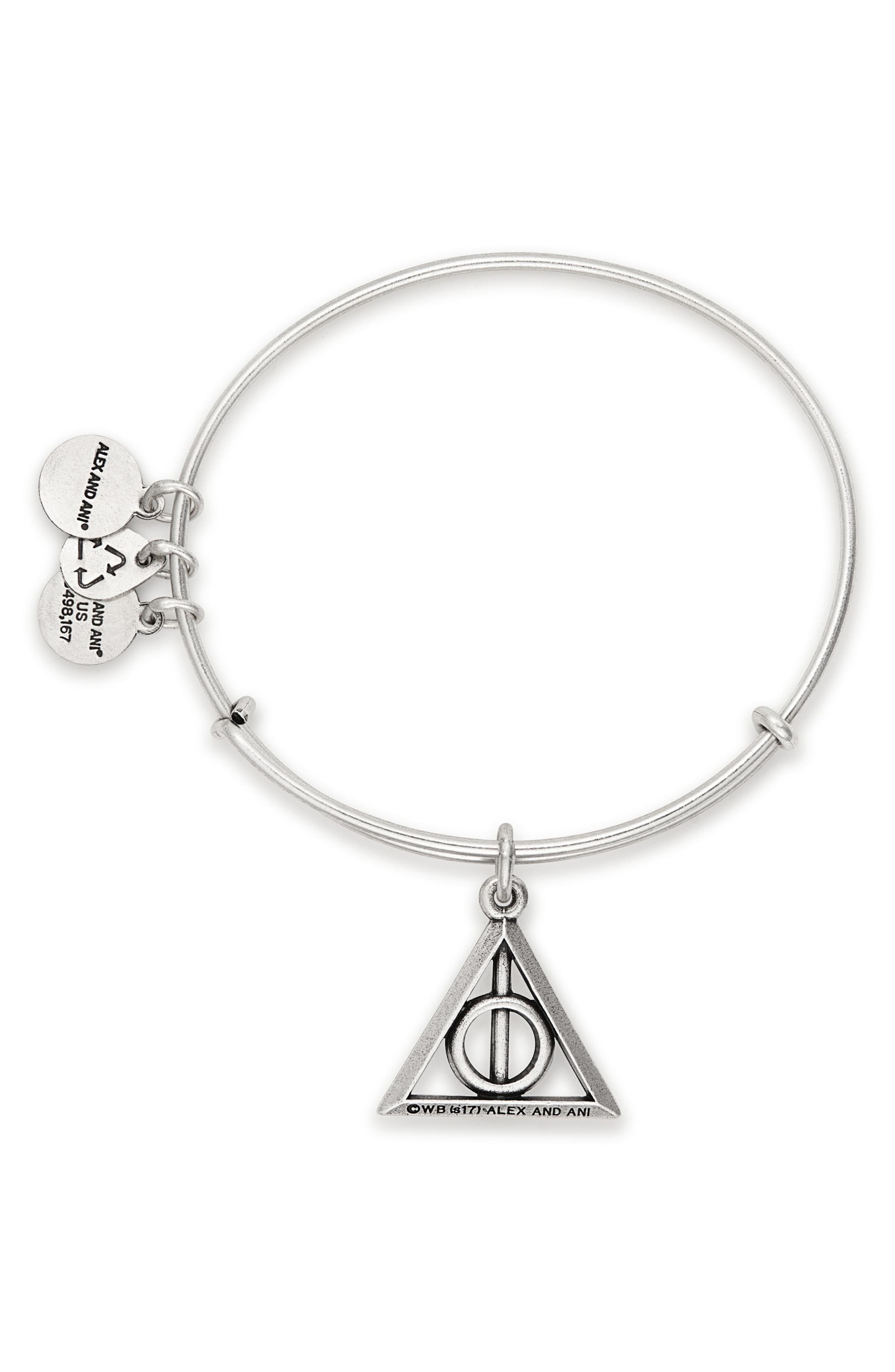 Deathly Hallows<sup>™</sup> Adjustable Wire Bangle,                             Alternate thumbnail 2, color,                             Silver