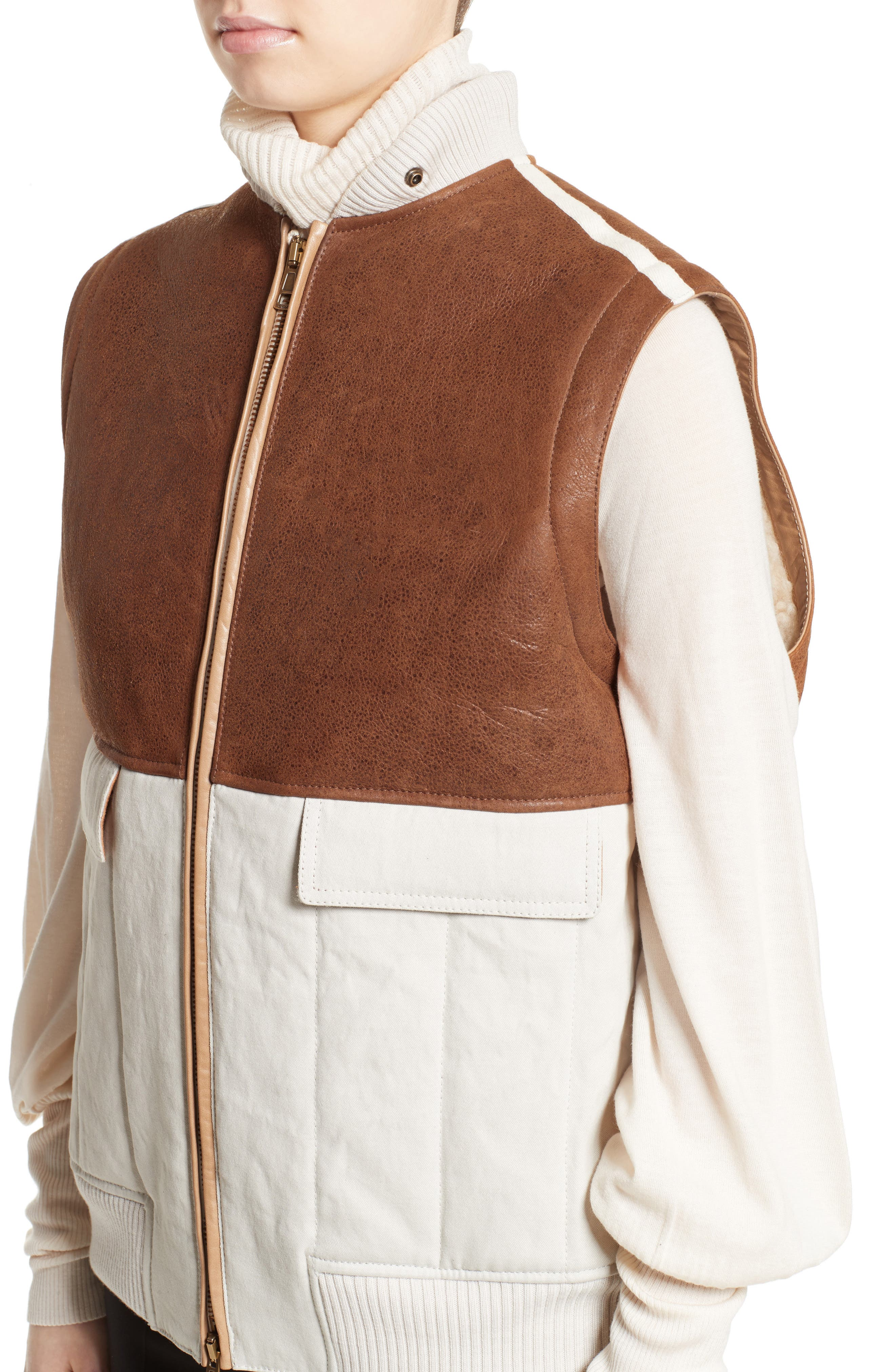 Genuine Shearling Trim Leather & Cotton Vest,                             Alternate thumbnail 6, color,                             Brown/ Beige