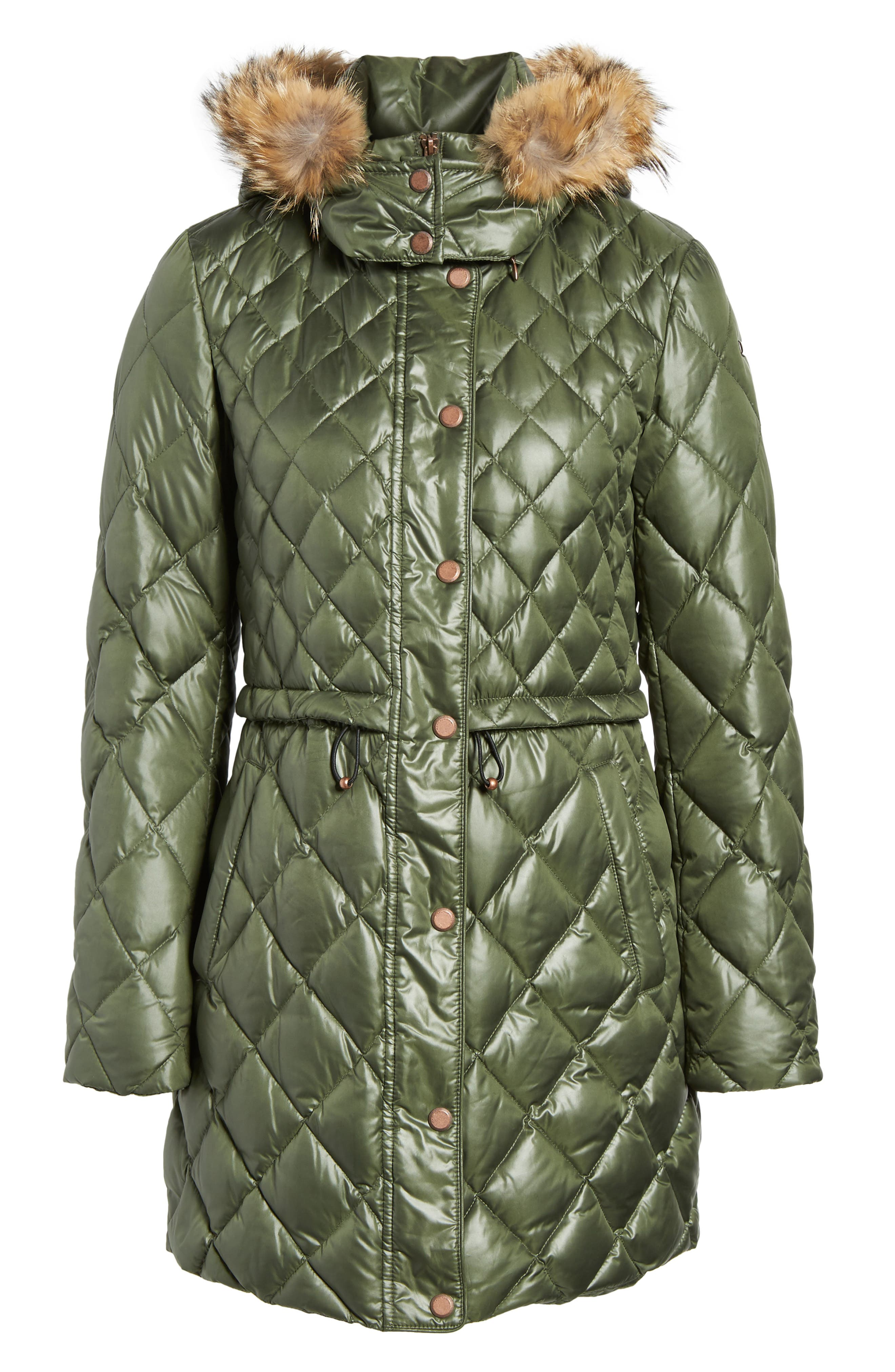 Quilted Anorak with Genuine Coyote Fur,                             Alternate thumbnail 5, color,                             Olive