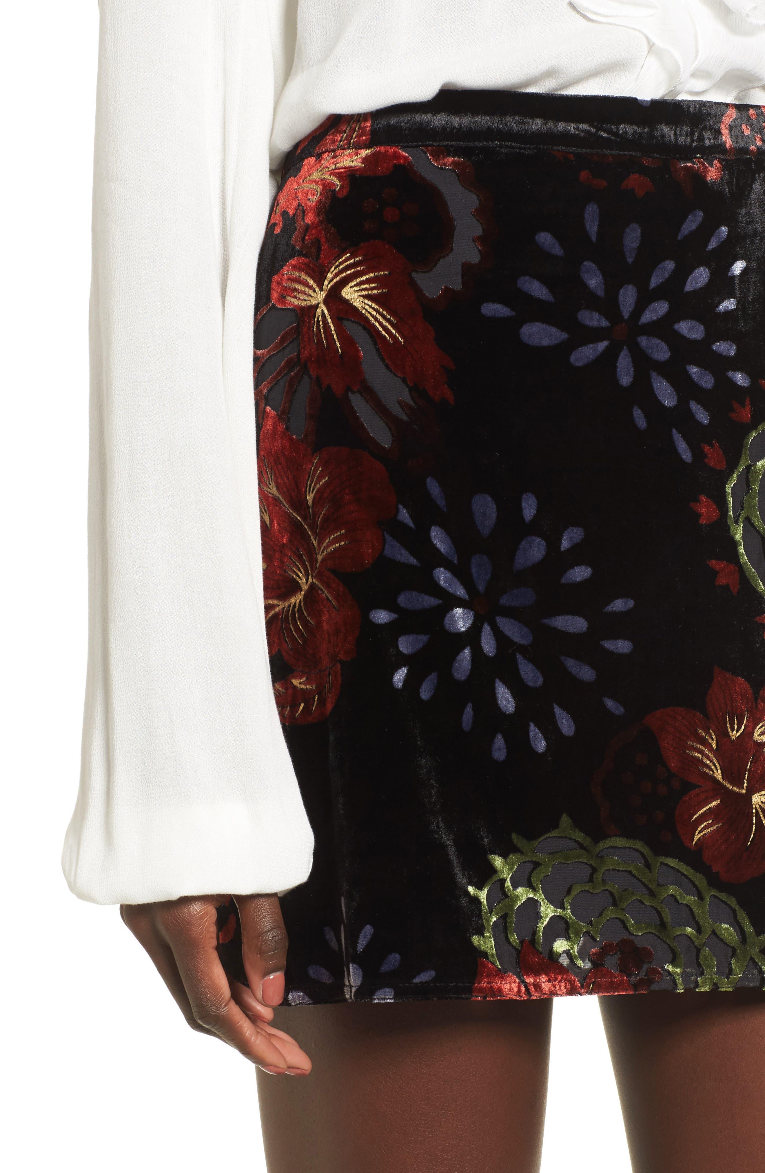 Romantic Burnout Miniskirt,                             Alternate thumbnail 4, color,                             Black Brick