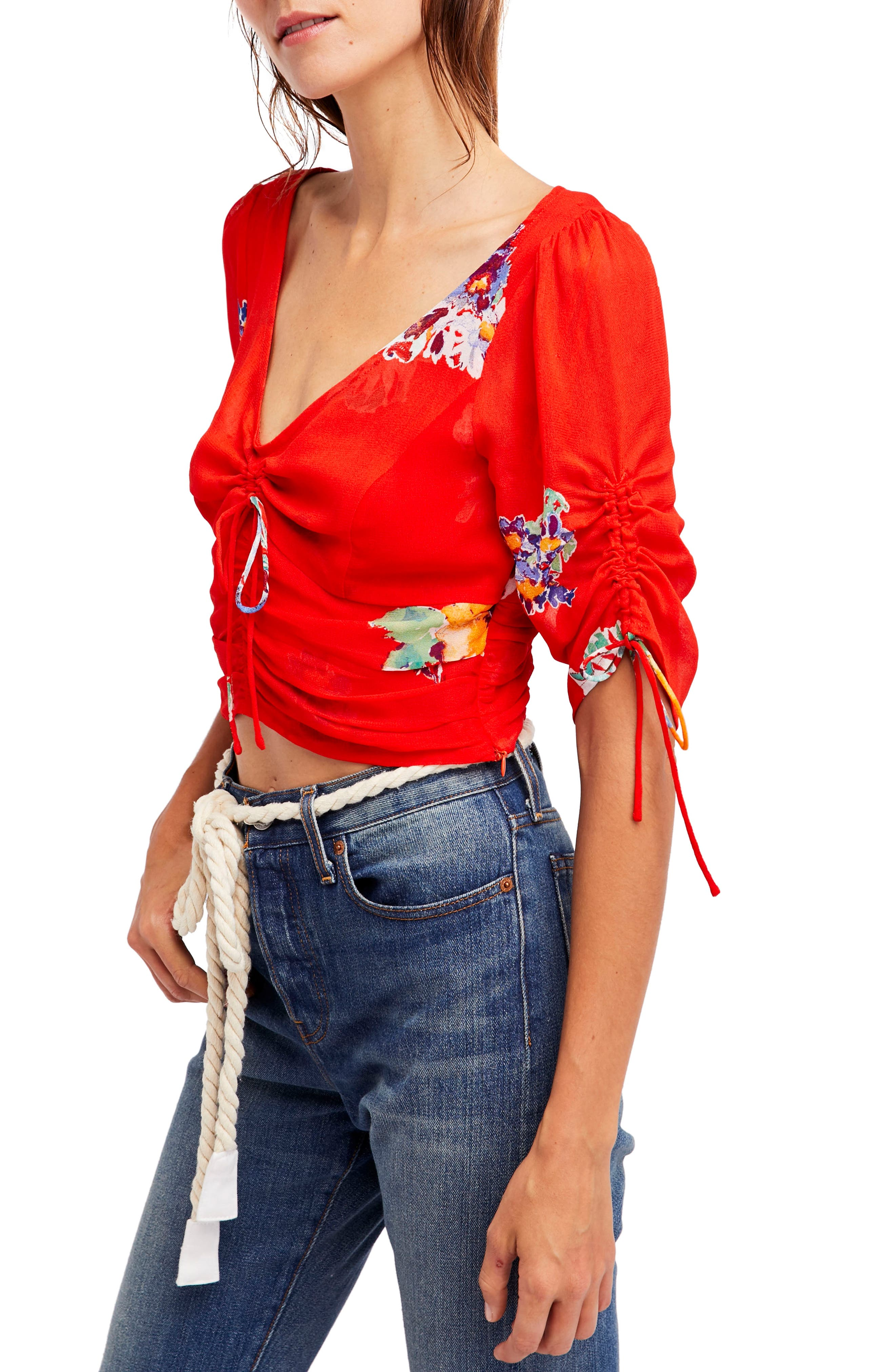 Love to Love Crop Top,                         Main,                         color, Red