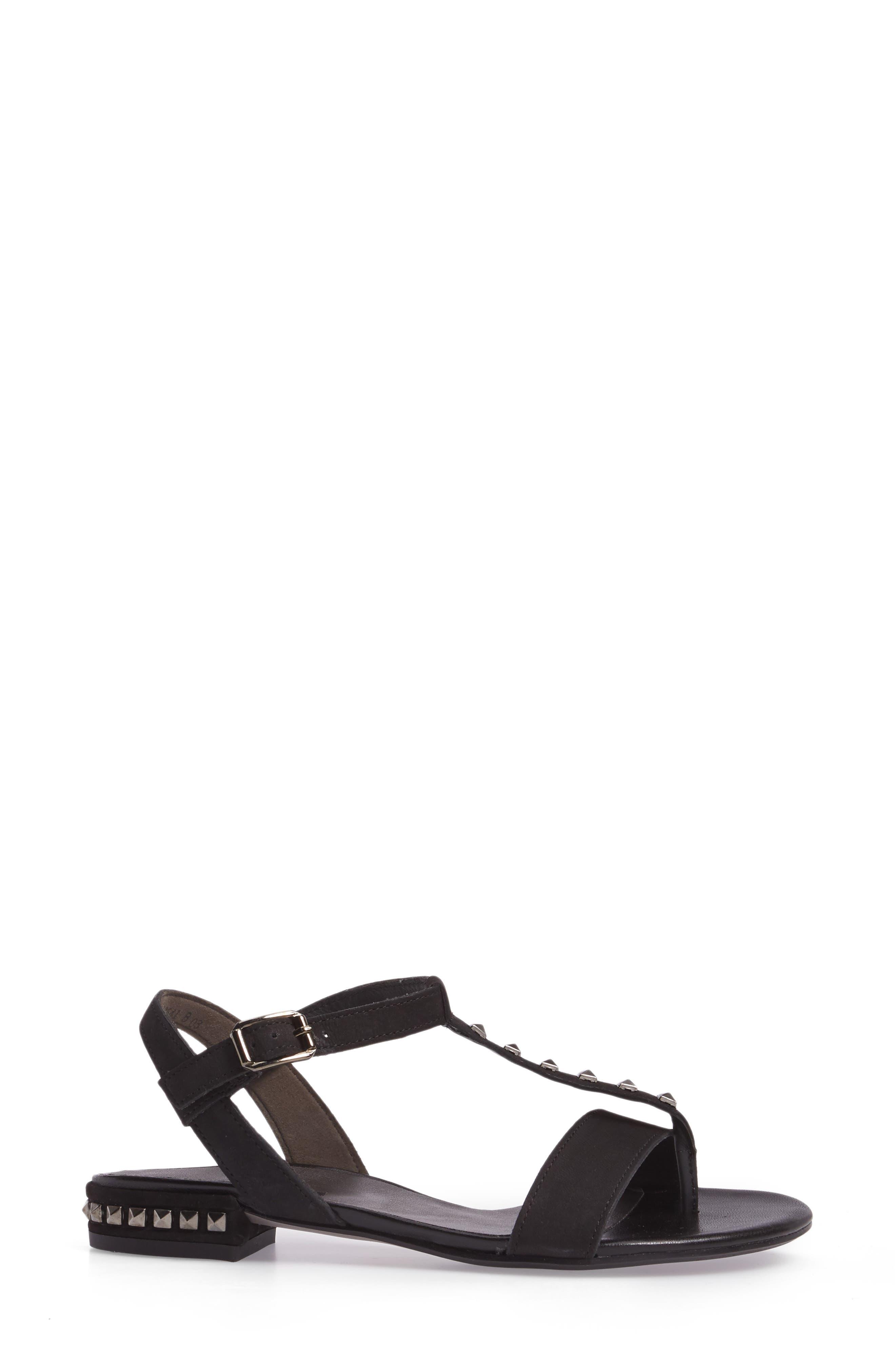 Nepal T-Strap Sandal,                             Alternate thumbnail 3, color,                             Black Nubuck