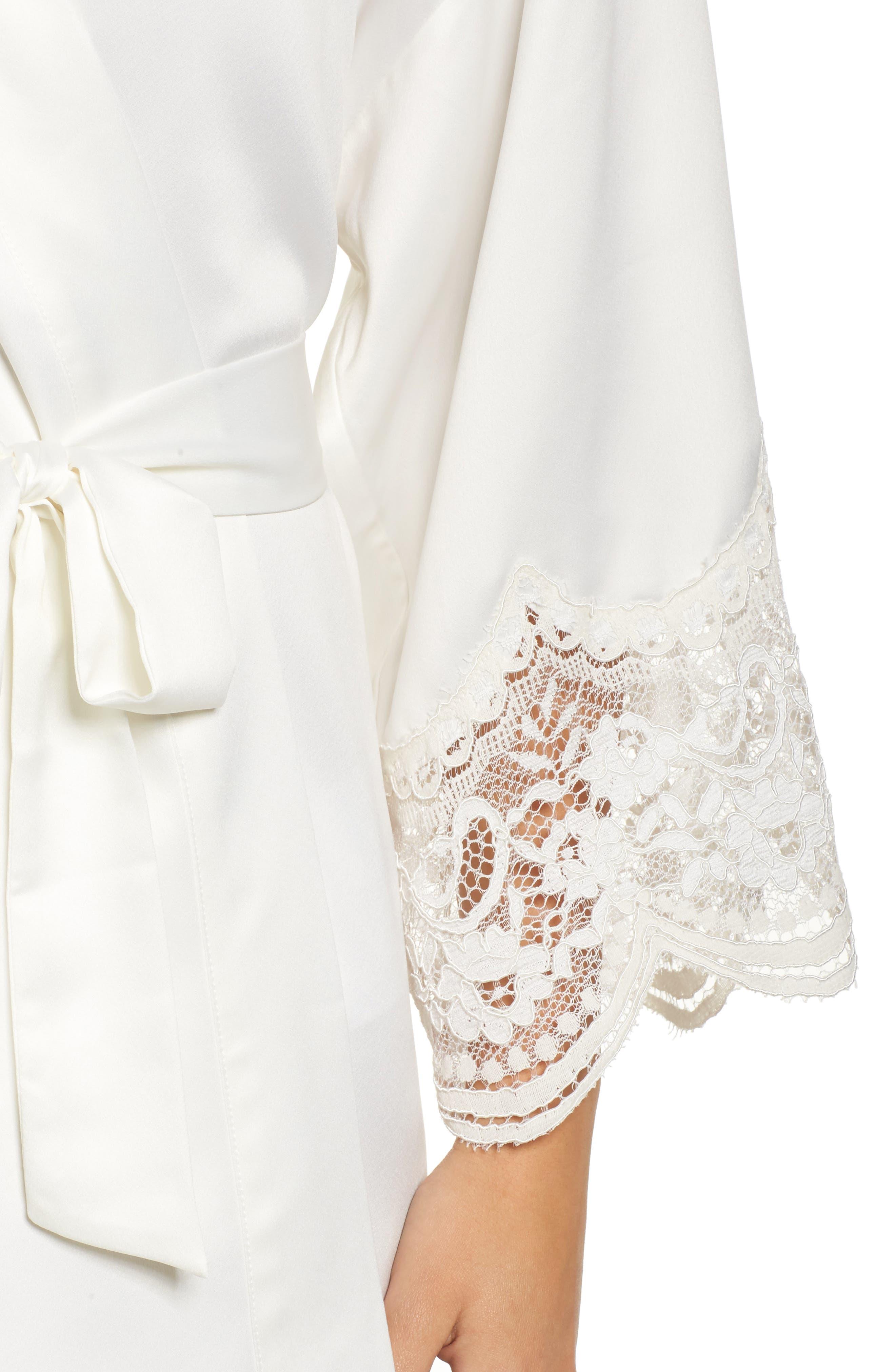 Alternate Image 5  - Flora Nikrooz Monica Satin Kimono Robe