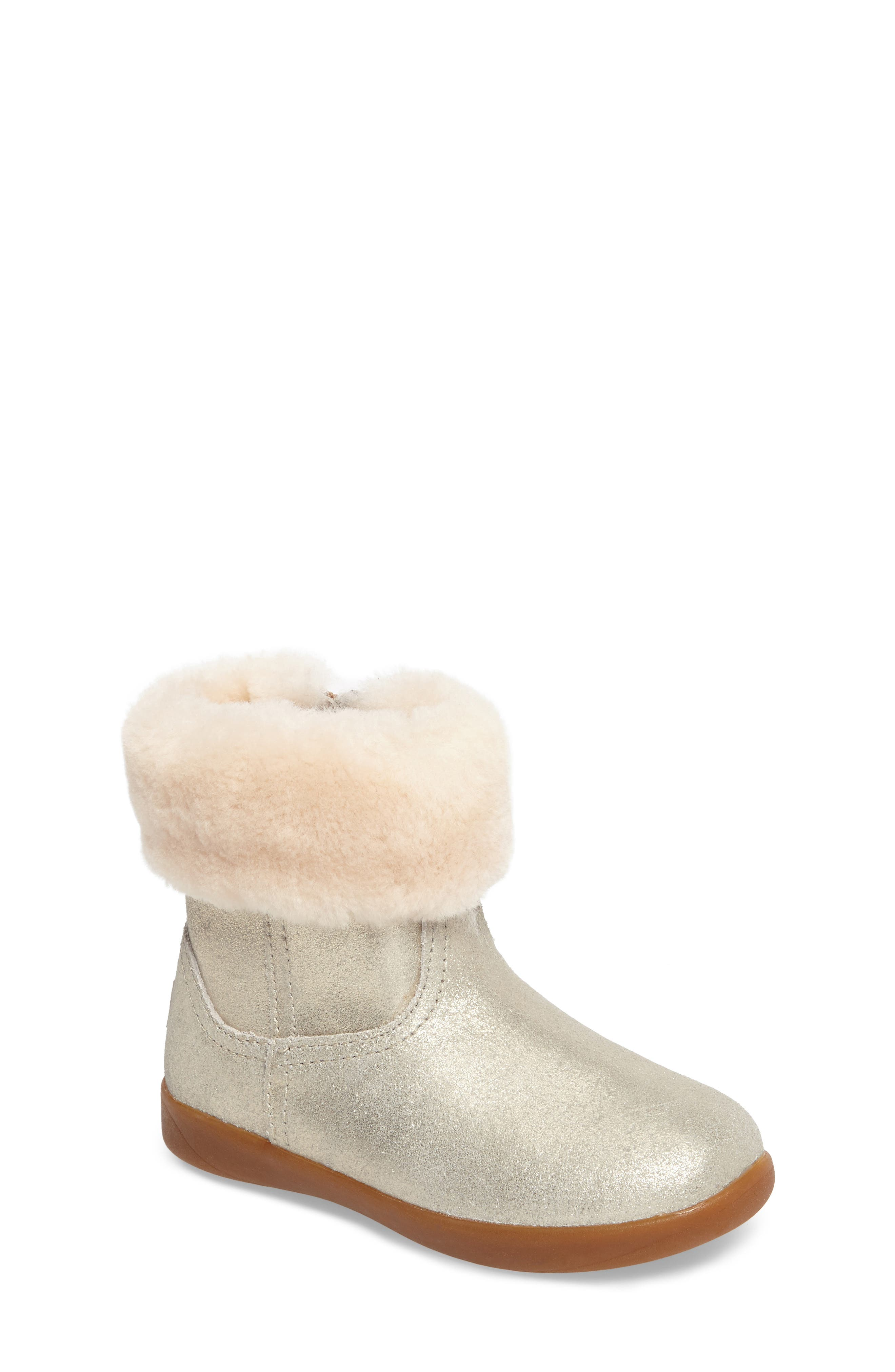 UGG® Jorie II Metallic Genuine Shearling Bootie (Toddler & Walker)